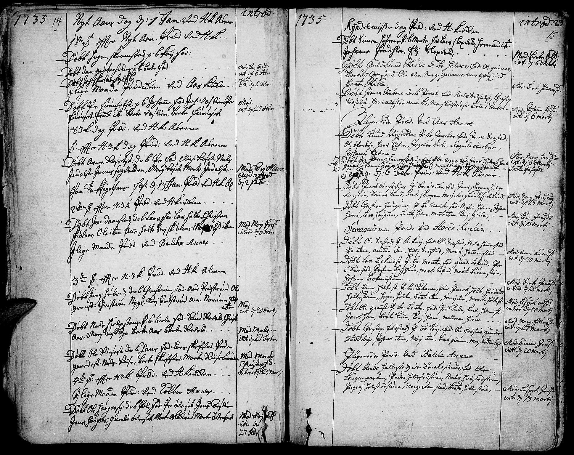 SAH, Toten prestekontor, Ministerialbok nr. 3, 1734-1751, s. 14-15
