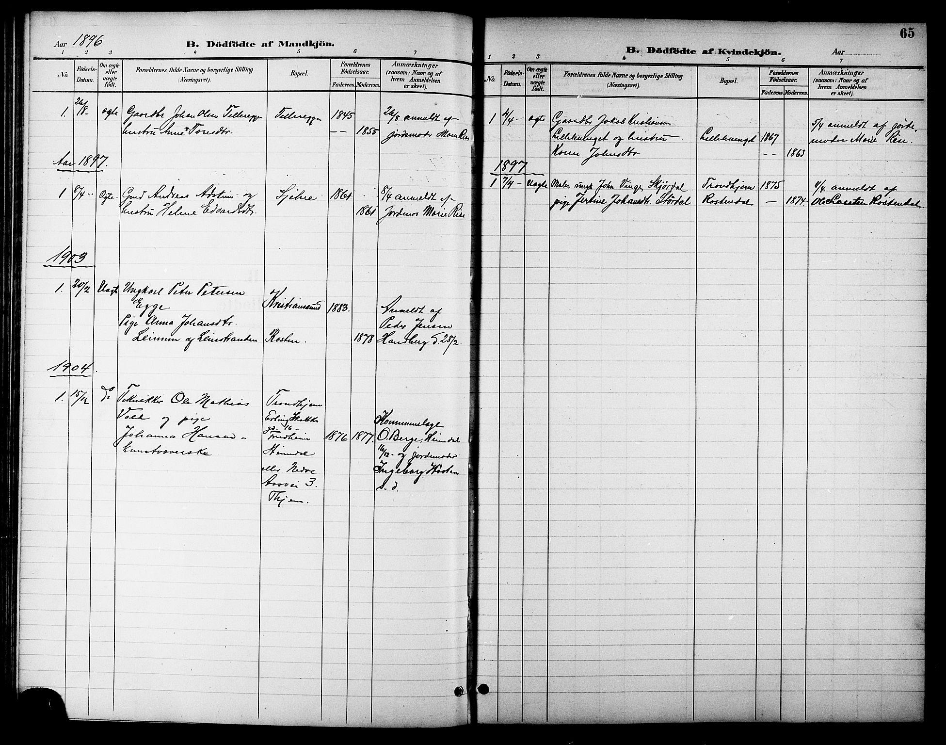 SAT, Ministerialprotokoller, klokkerbøker og fødselsregistre - Sør-Trøndelag, 621/L0460: Klokkerbok nr. 621C03, 1896-1914, s. 65