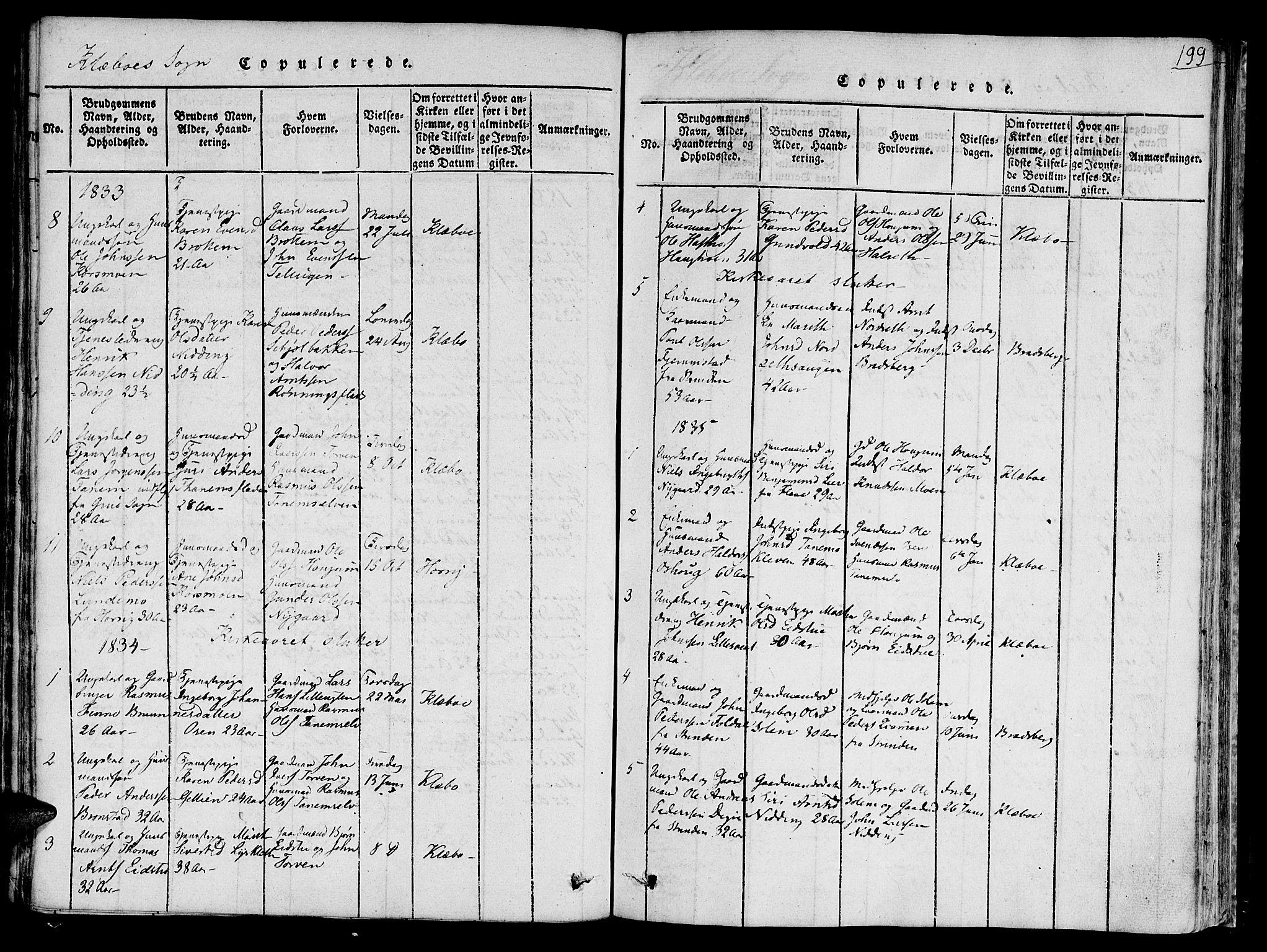 SAT, Ministerialprotokoller, klokkerbøker og fødselsregistre - Sør-Trøndelag, 618/L0439: Ministerialbok nr. 618A04 /1, 1816-1843, s. 199
