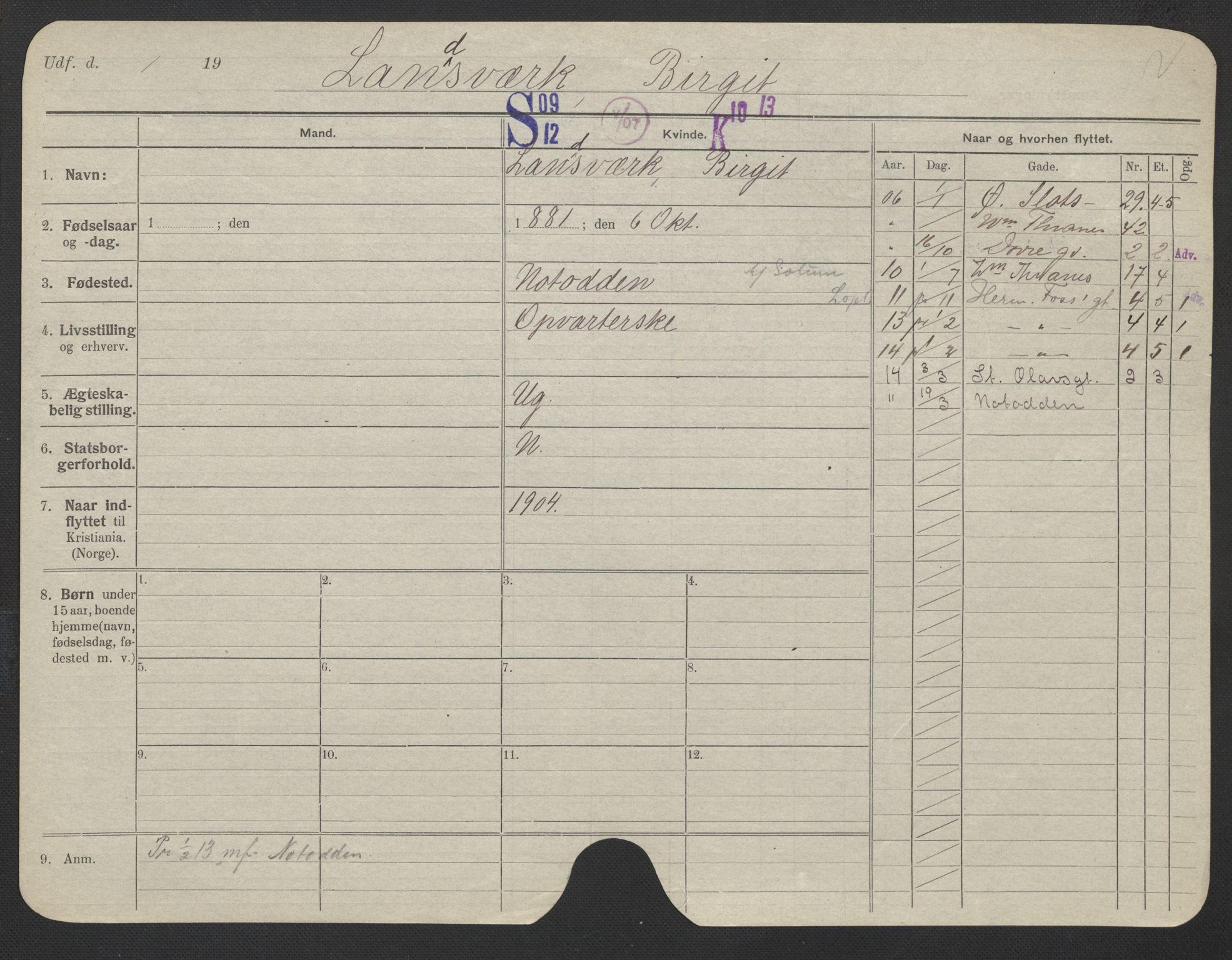 SAO, Oslo folkeregister, Registerkort, F/Fa/Fac/L0019: Kvinner, 1906-1914, s. 726a