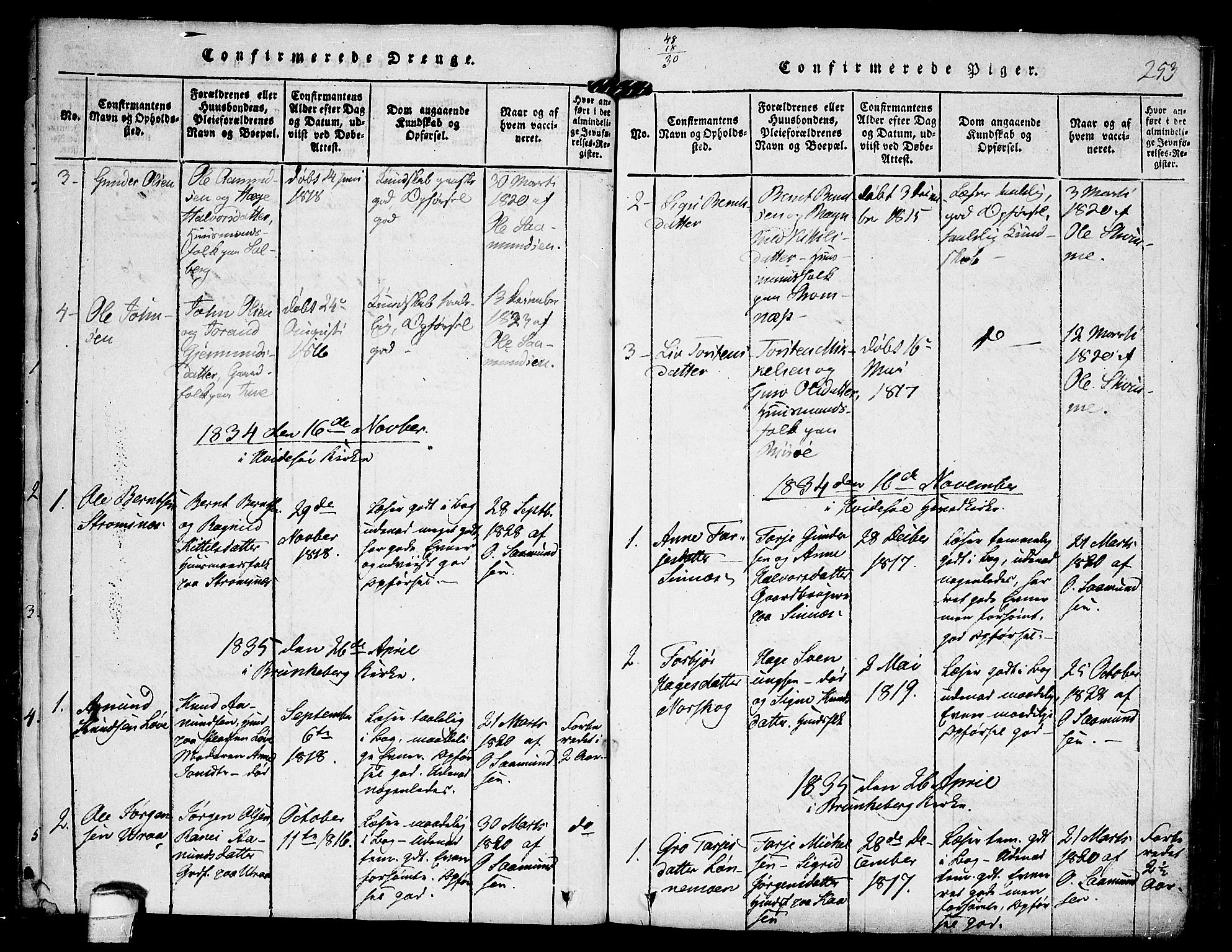 SAKO, Kviteseid kirkebøker, F/Fc/L0001: Ministerialbok nr. III 1, 1815-1836, s. 253