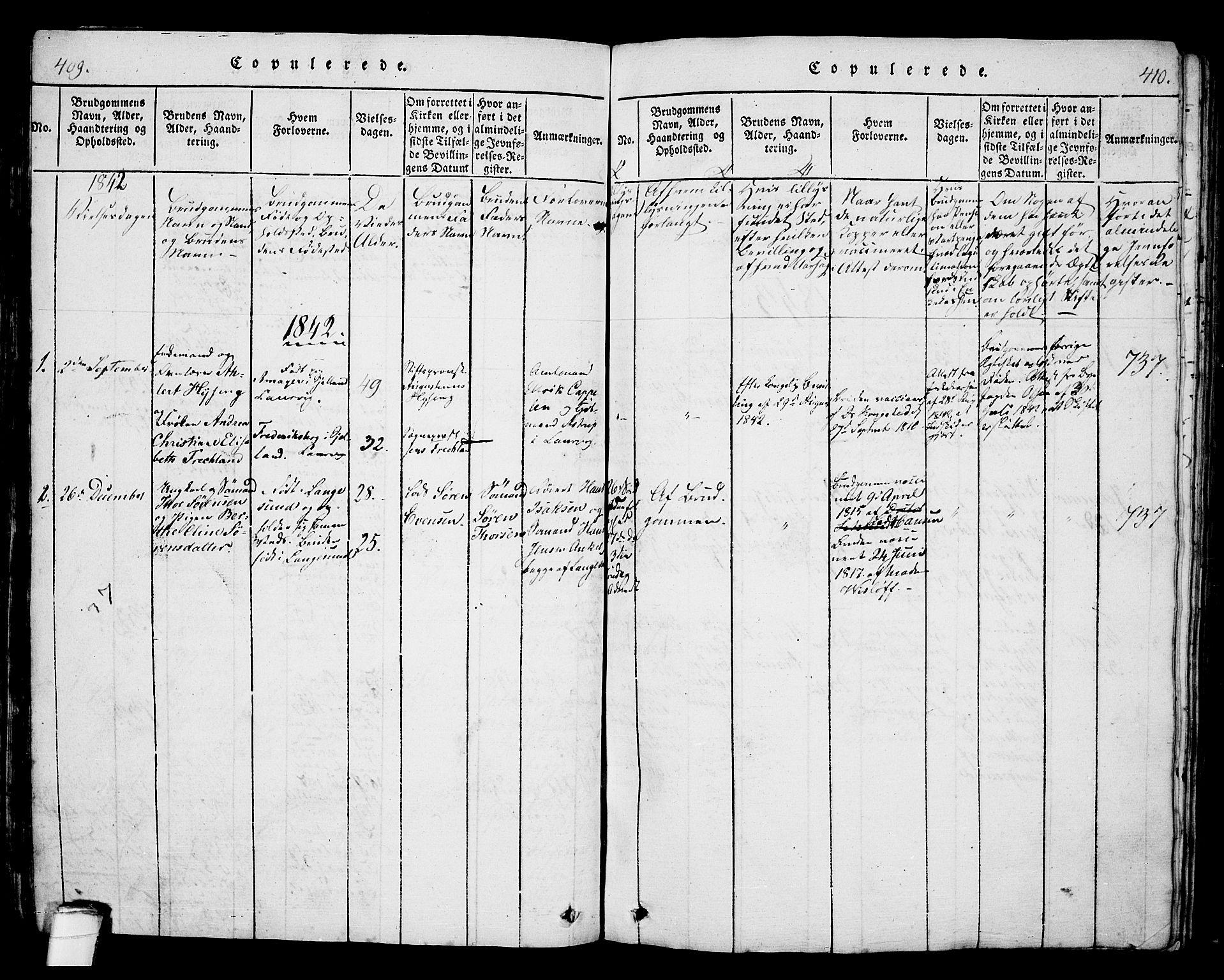 SAKO, Langesund kirkebøker, G/Ga/L0003: Klokkerbok nr. 3, 1815-1858, s. 409-410