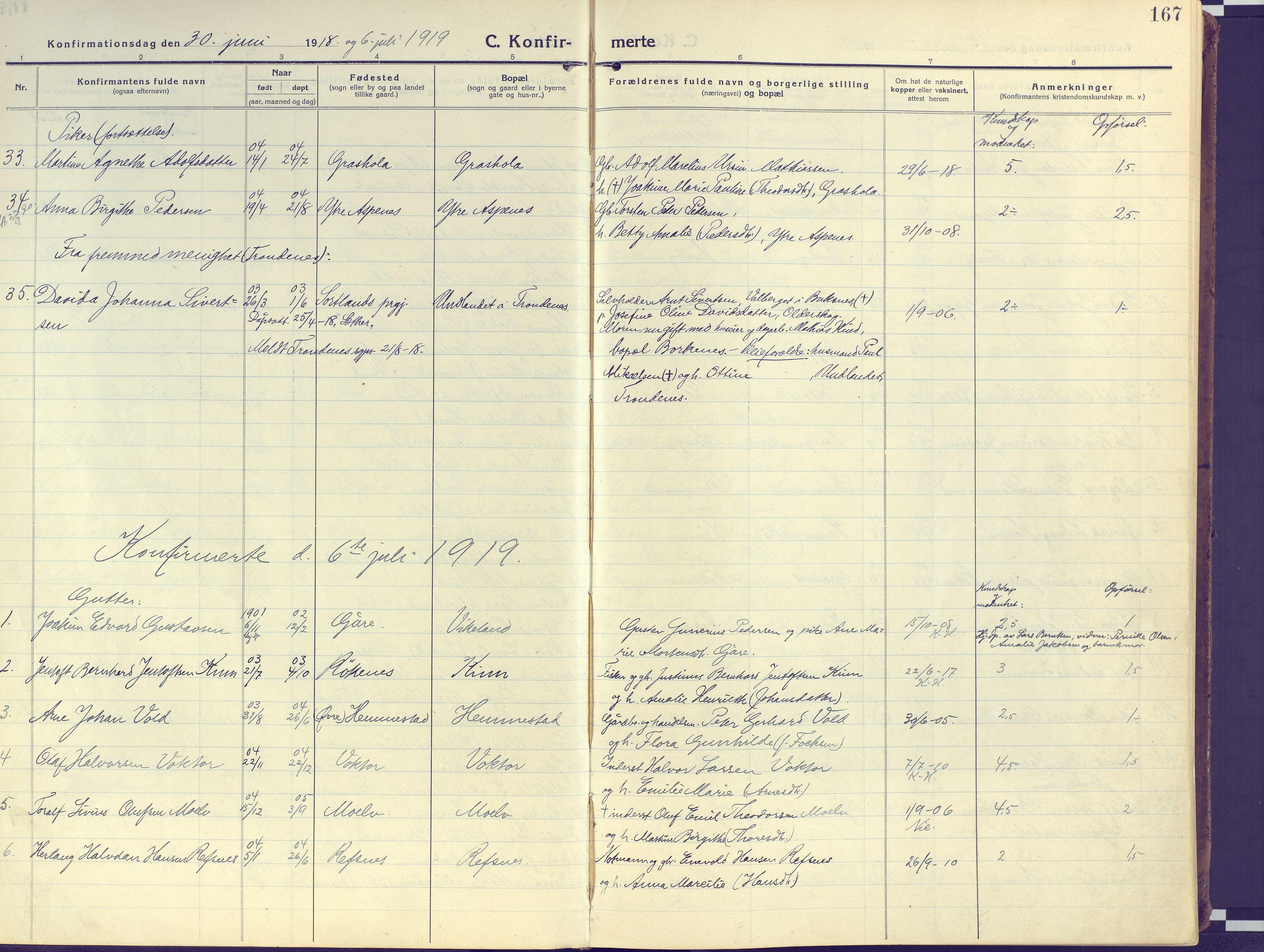 SATØ, Kvæfjord sokneprestkontor, G/Ga/Gaa/L0007kirke: Ministerialbok nr. 7, 1915-1931, s. 167