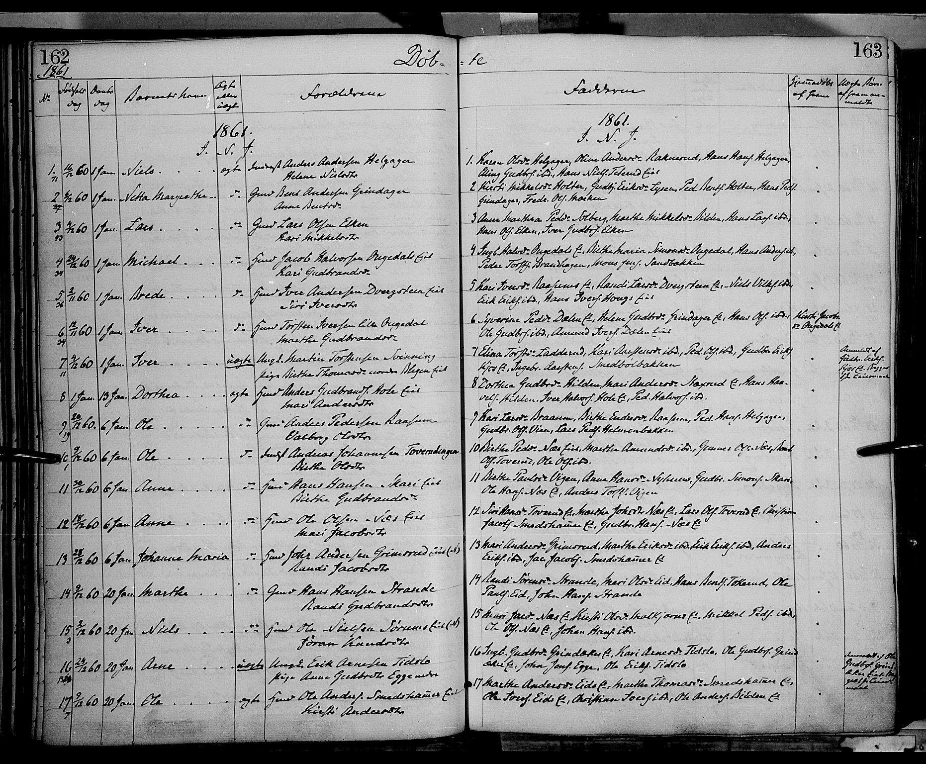 SAH, Gran prestekontor, Ministerialbok nr. 12, 1856-1874, s. 162-163