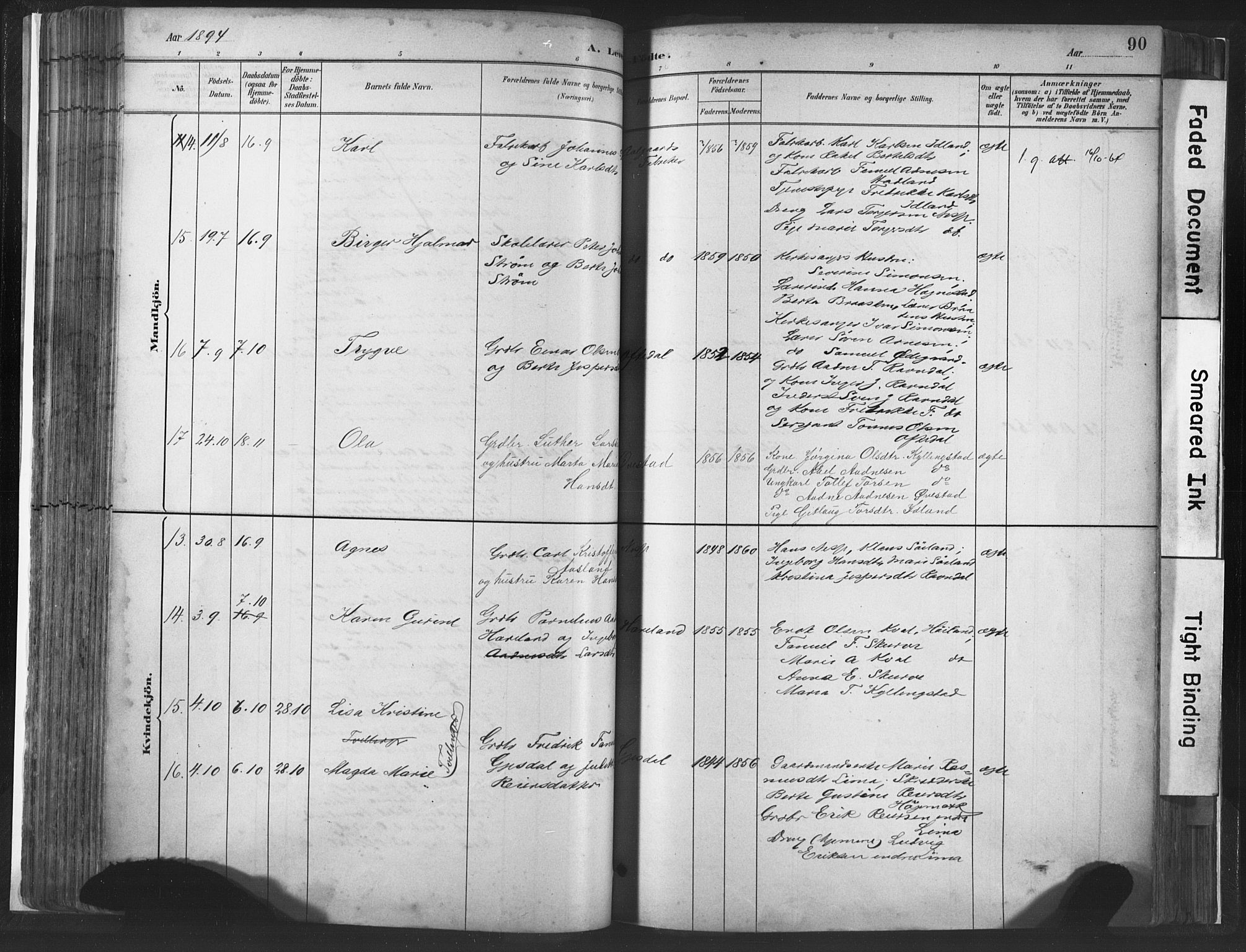 SAST, Lye sokneprestkontor, 30BA/L0010: Ministerialbok nr. A 10, 1881-1896, s. 90