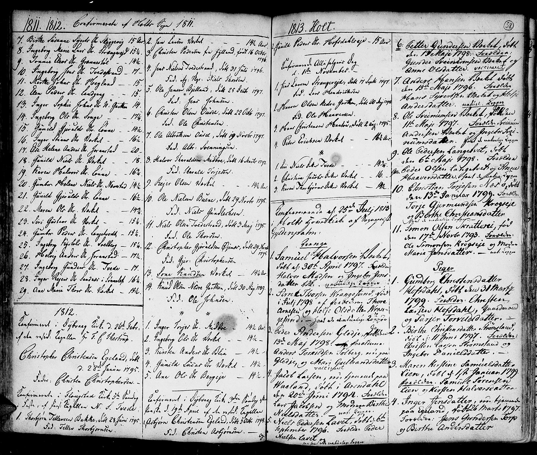SAK, Holt sokneprestkontor, F/Fa/L0004: Ministerialbok nr. A 4, 1799-1813, s. 58