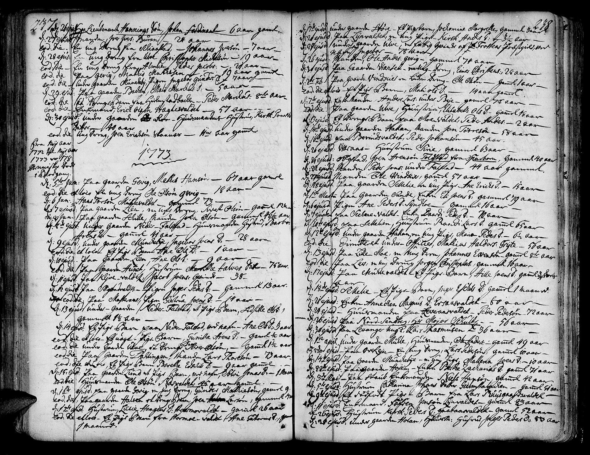 SAT, Ministerialprotokoller, klokkerbøker og fødselsregistre - Nord-Trøndelag, 717/L0141: Ministerialbok nr. 717A01, 1747-1803, s. 237-238