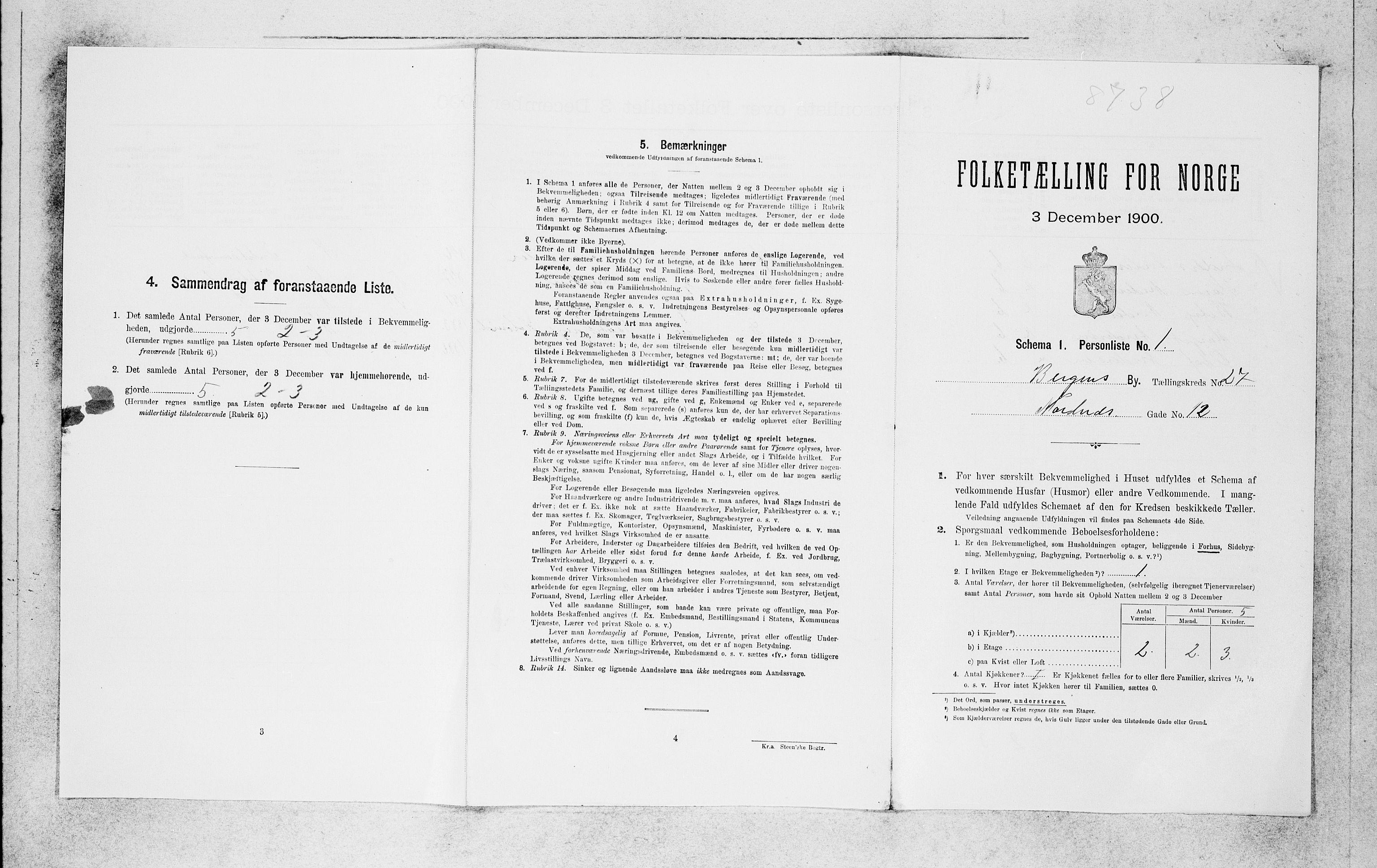 SAB, Folketelling 1900 for 1301 Bergen kjøpstad, 1900, s. 5668