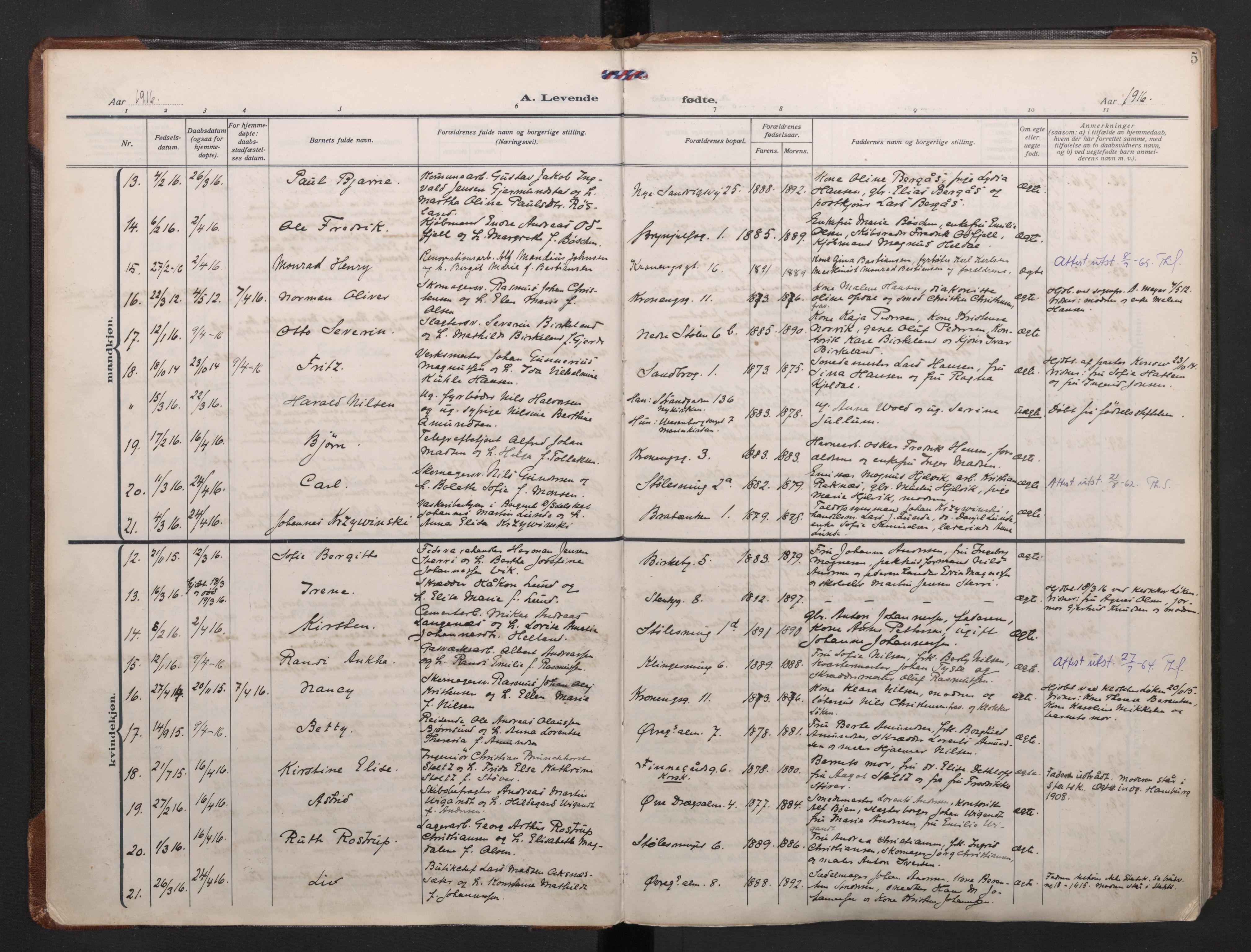 SAB, Mariakirken Sokneprestembete, H/Haa/L0011: Ministerialbok nr. B 2, 1916-1934, s. 4b-5a