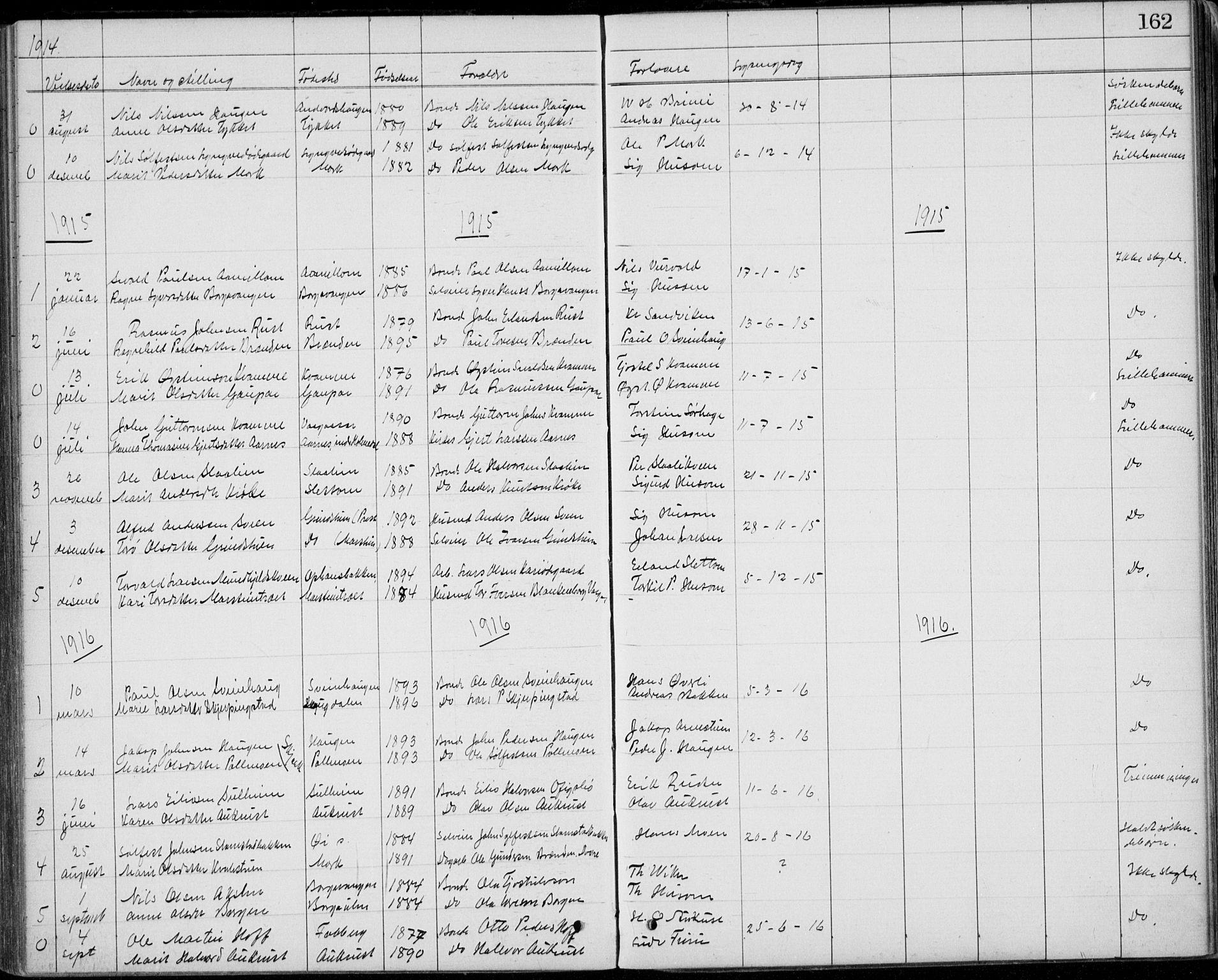 SAH, Lom prestekontor, L/L0013: Klokkerbok nr. 13, 1874-1938, s. 162