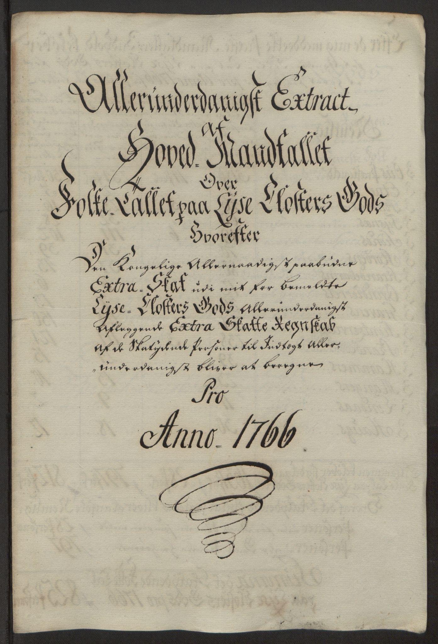 RA, Rentekammeret inntil 1814, Reviderte regnskaper, Fogderegnskap, R50/L3180: Ekstraskatten Lyse kloster, 1762-1783, s. 156