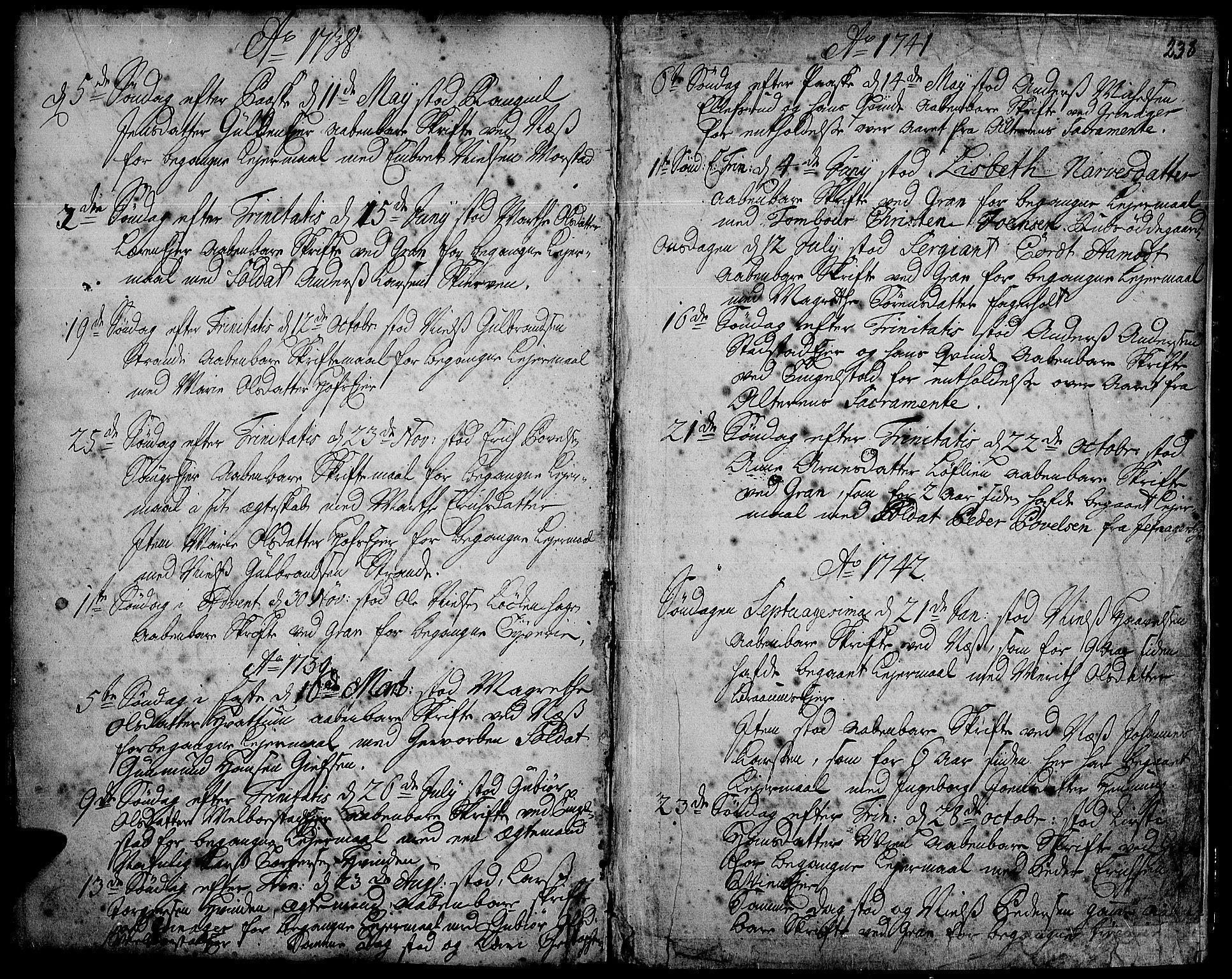 SAH, Gran prestekontor, Ministerialbok nr. 2, 1732-1744, s. 238