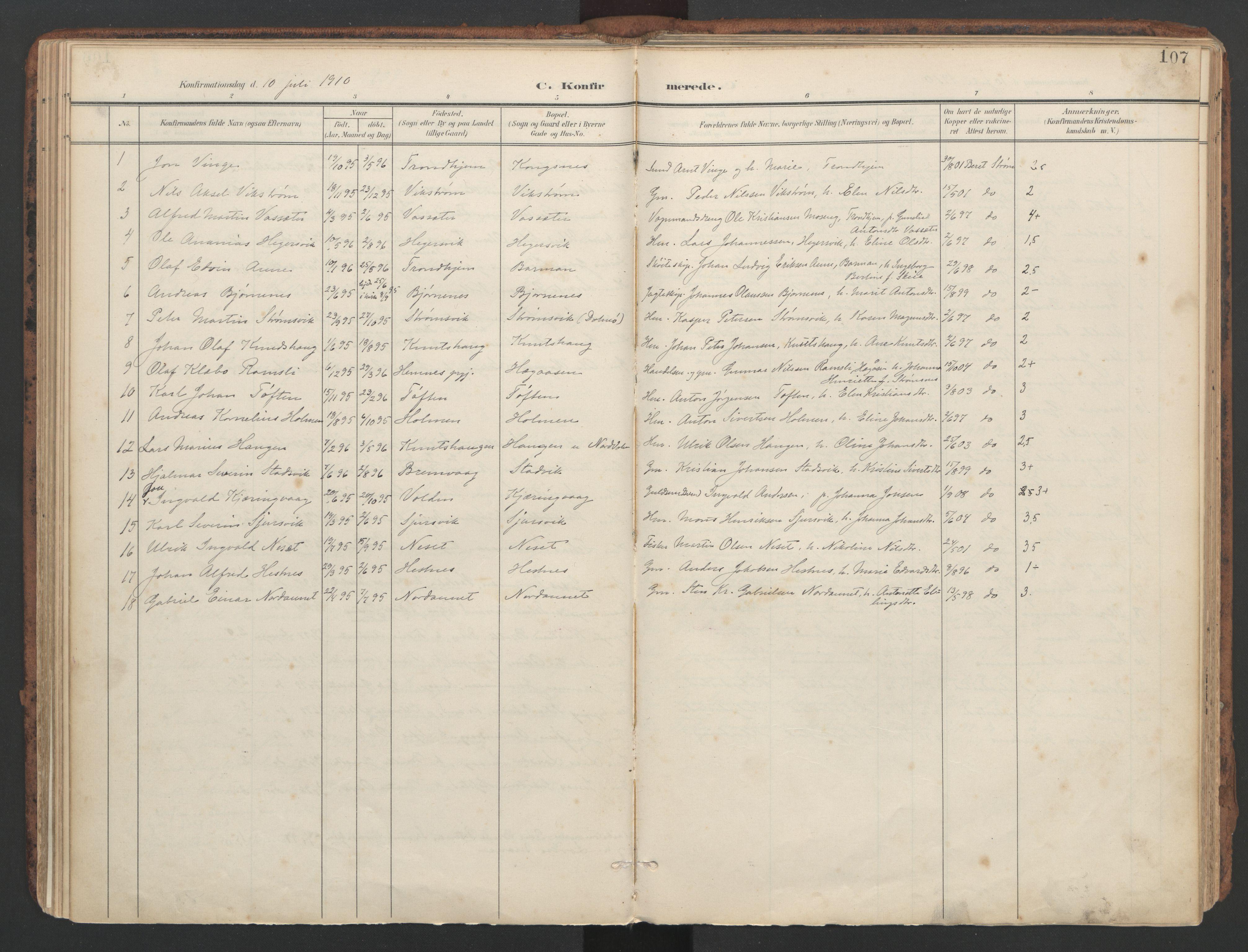 SAT, Ministerialprotokoller, klokkerbøker og fødselsregistre - Sør-Trøndelag, 634/L0537: Ministerialbok nr. 634A13, 1896-1922, s. 107