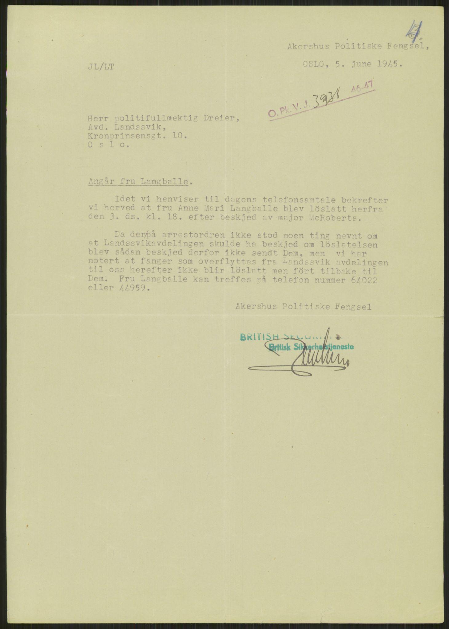 RA, Landssvikarkivet, Oslo politikammer, D/Dg/L0267: Henlagt hnr. 3658, 1945-1946, s. 41