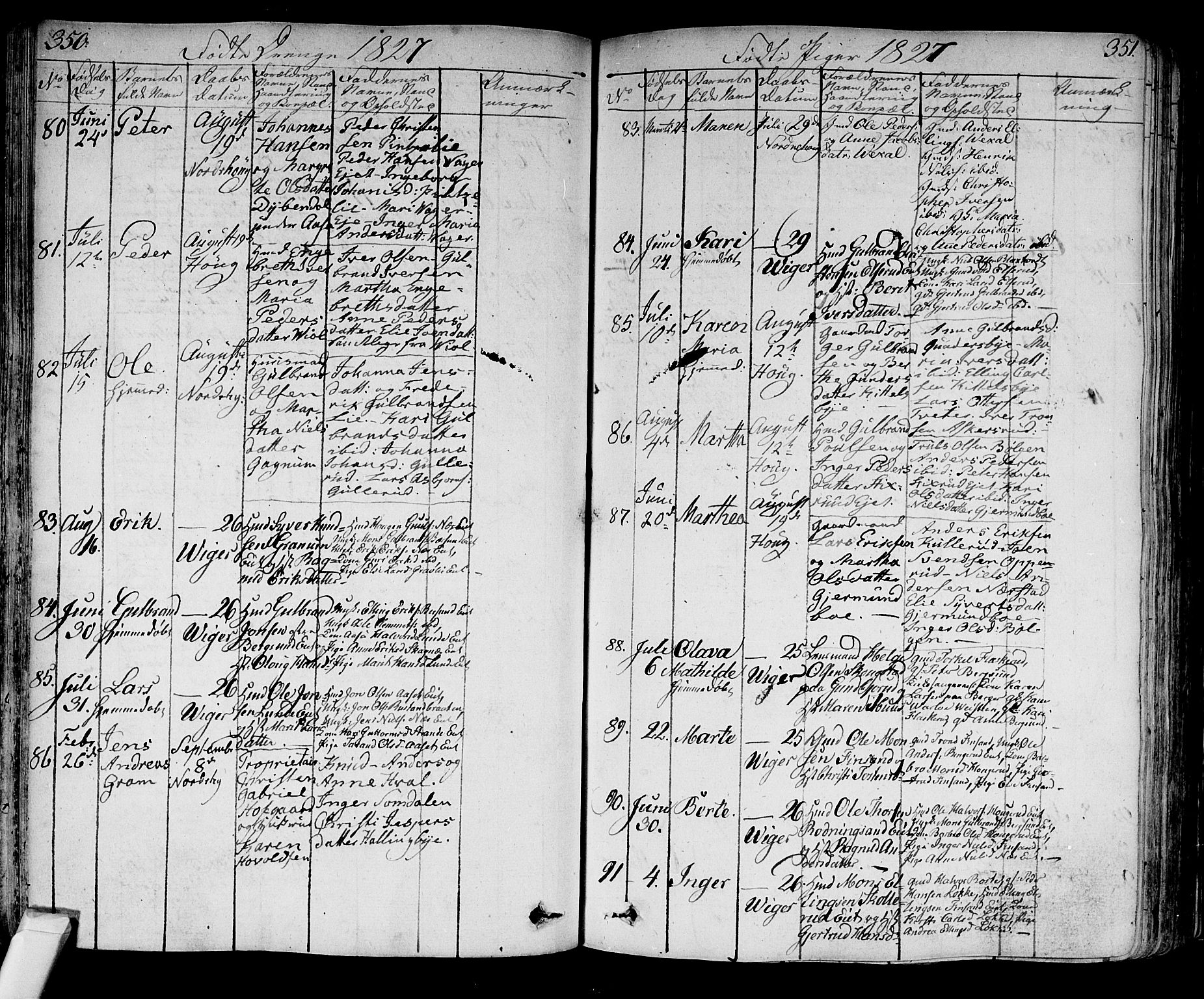 SAKO, Norderhov kirkebøker, F/Fa/L0009: Ministerialbok nr. 9, 1819-1837, s. 350-351