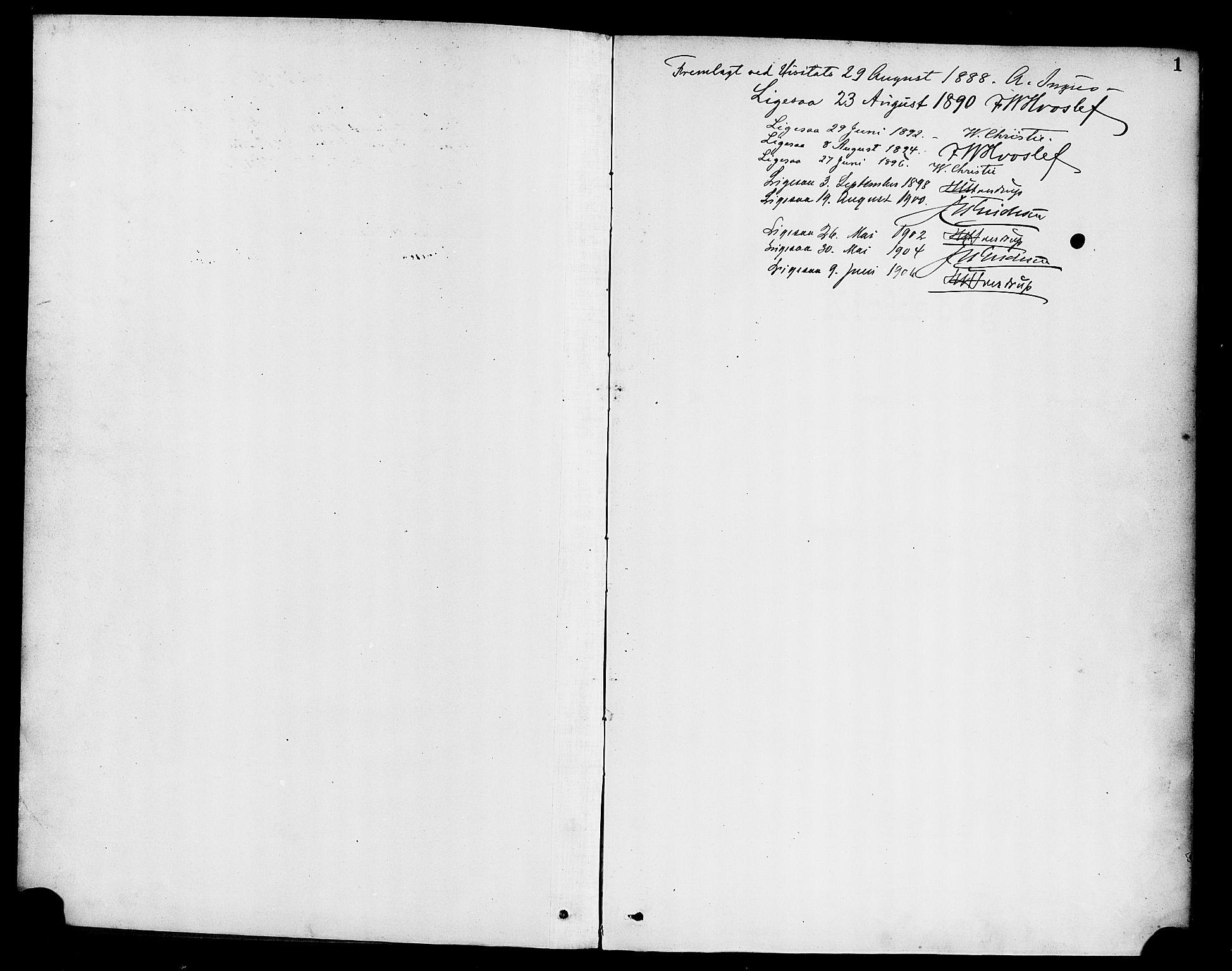 SAB, Hyllestad Sokneprestembete, Ministerialbok nr. C 1, 1886-1904, s. 1