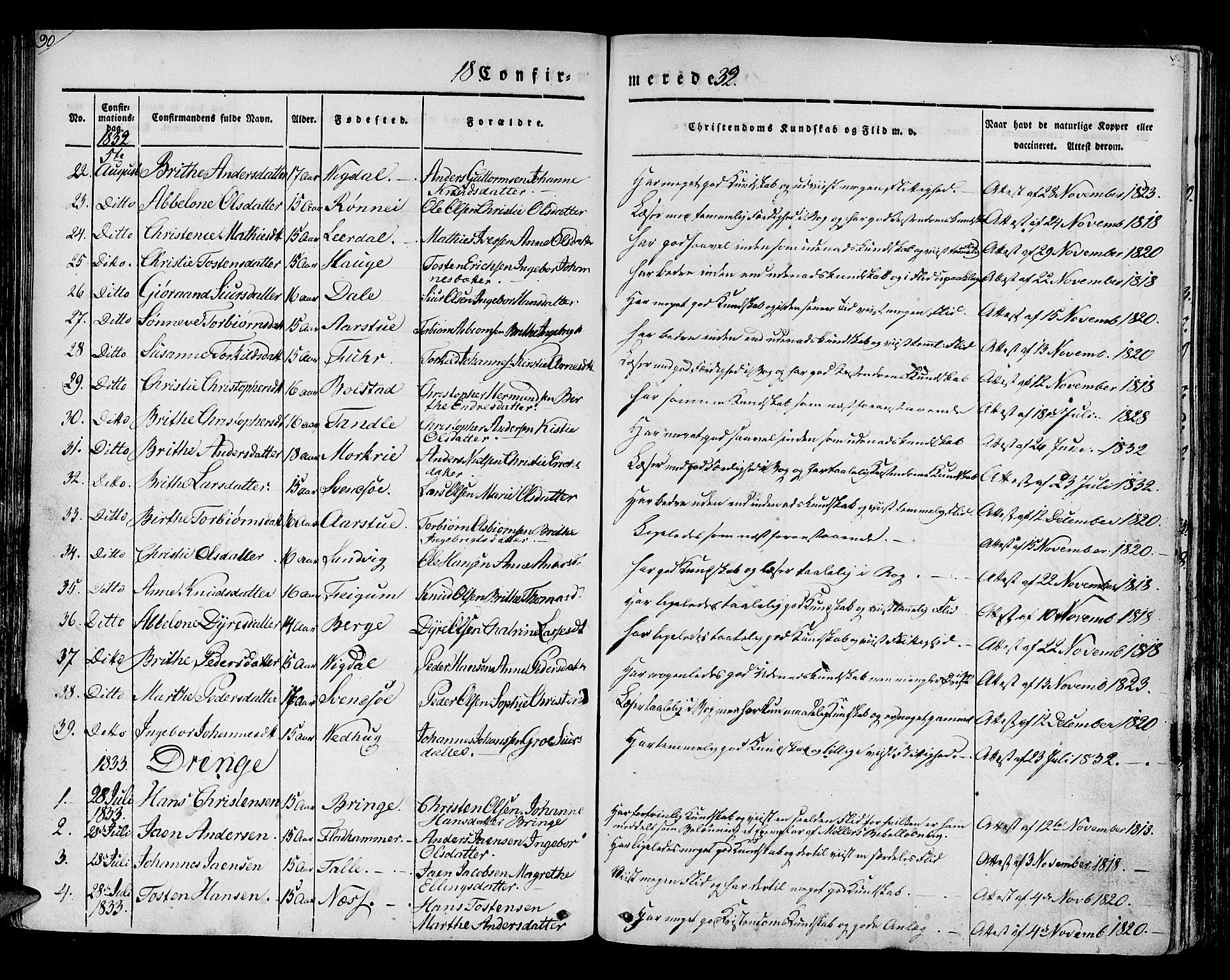 SAB, Luster Sokneprestembete, H/Haa/Haaa/L0005: Ministerialbok nr. A 5, 1831-1841, s. 90