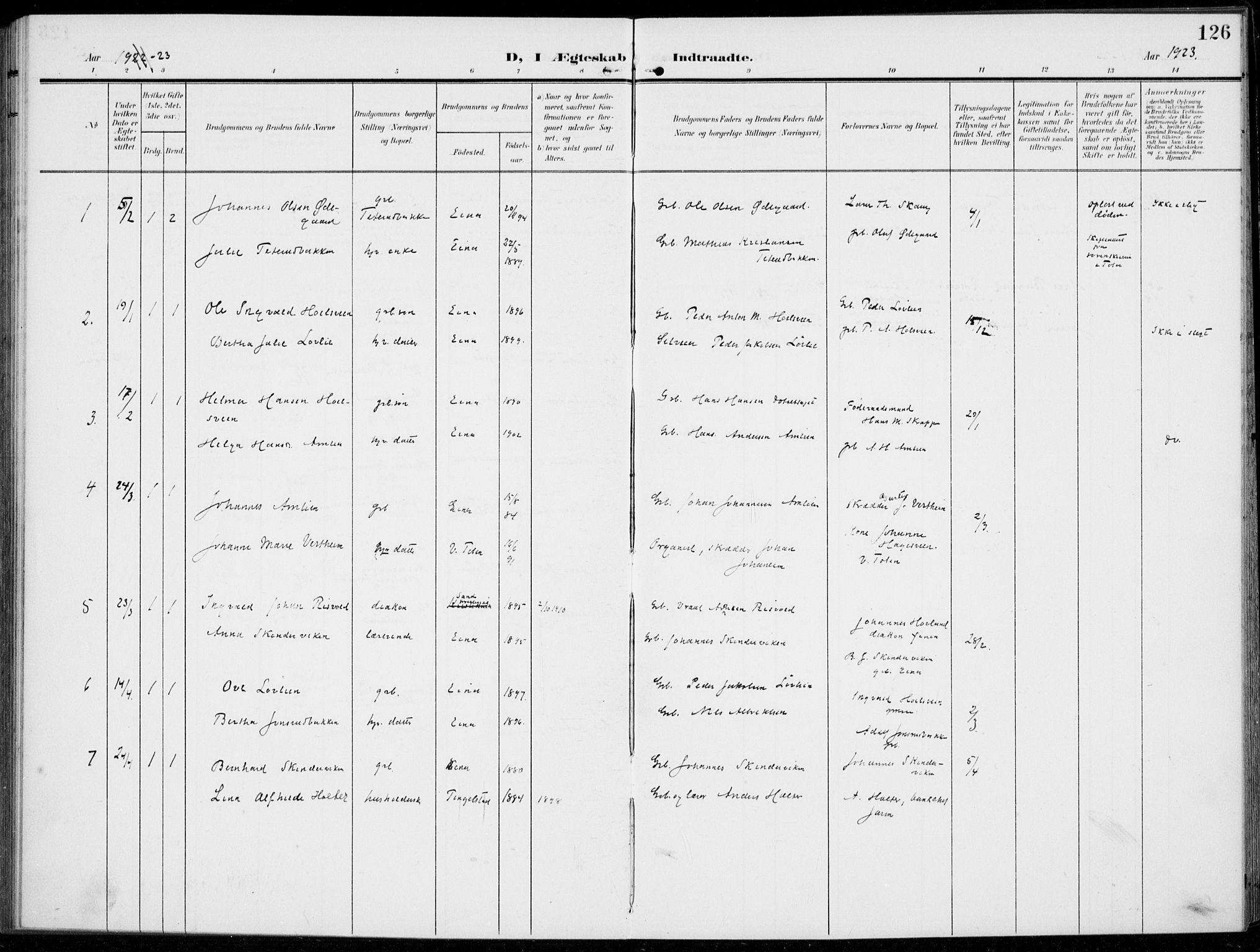 SAH, Kolbu prestekontor, Ministerialbok nr. 1, 1907-1923, s. 126