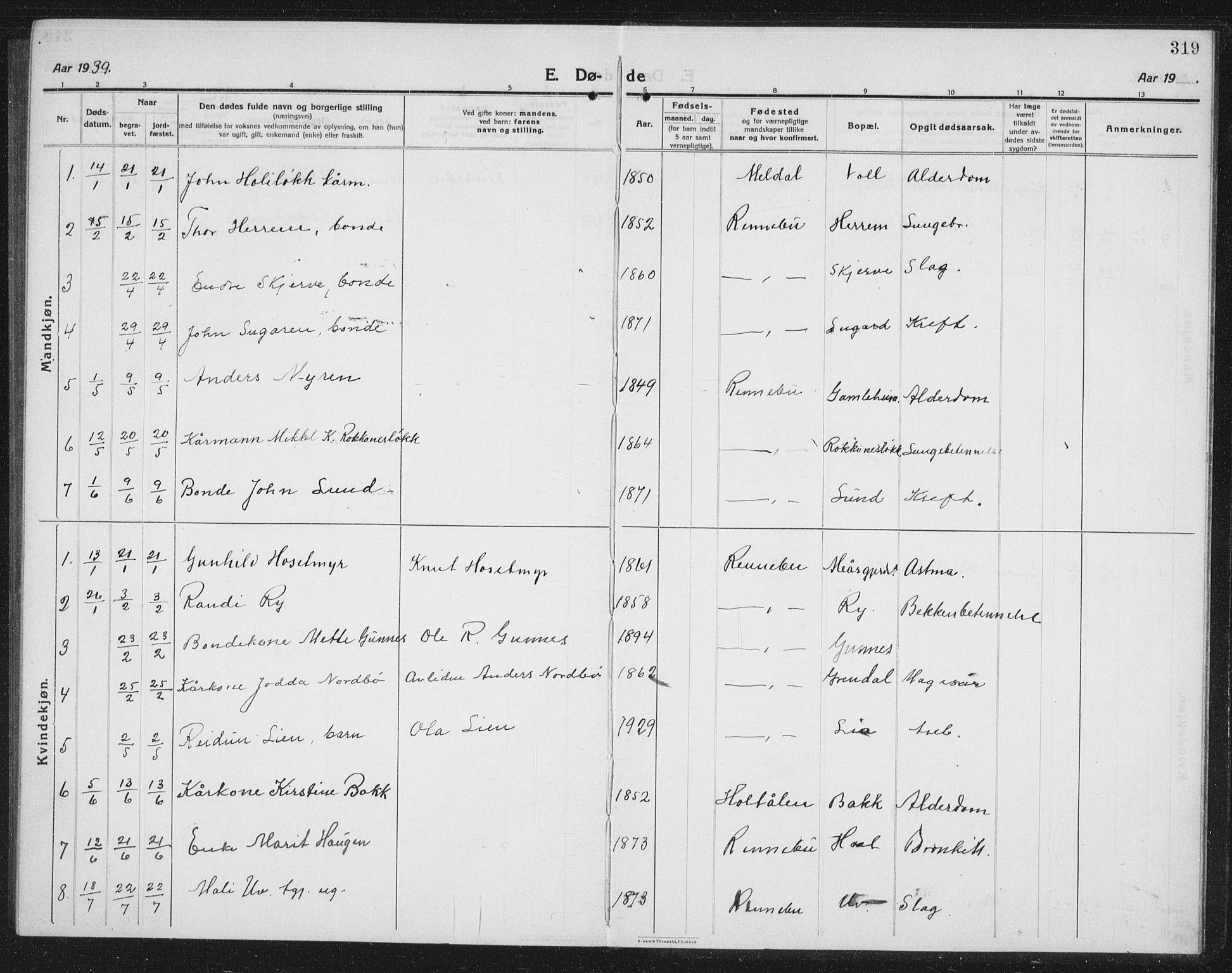 SAT, Ministerialprotokoller, klokkerbøker og fødselsregistre - Sør-Trøndelag, 674/L0877: Klokkerbok nr. 674C04, 1913-1940, s. 319