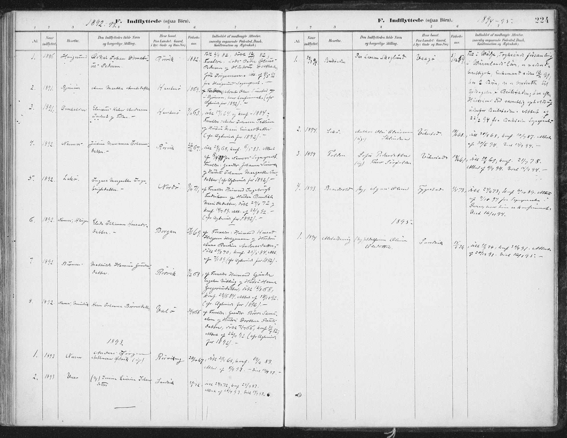 SAT, Ministerialprotokoller, klokkerbøker og fødselsregistre - Nord-Trøndelag, 786/L0687: Ministerialbok nr. 786A03, 1888-1898, s. 224