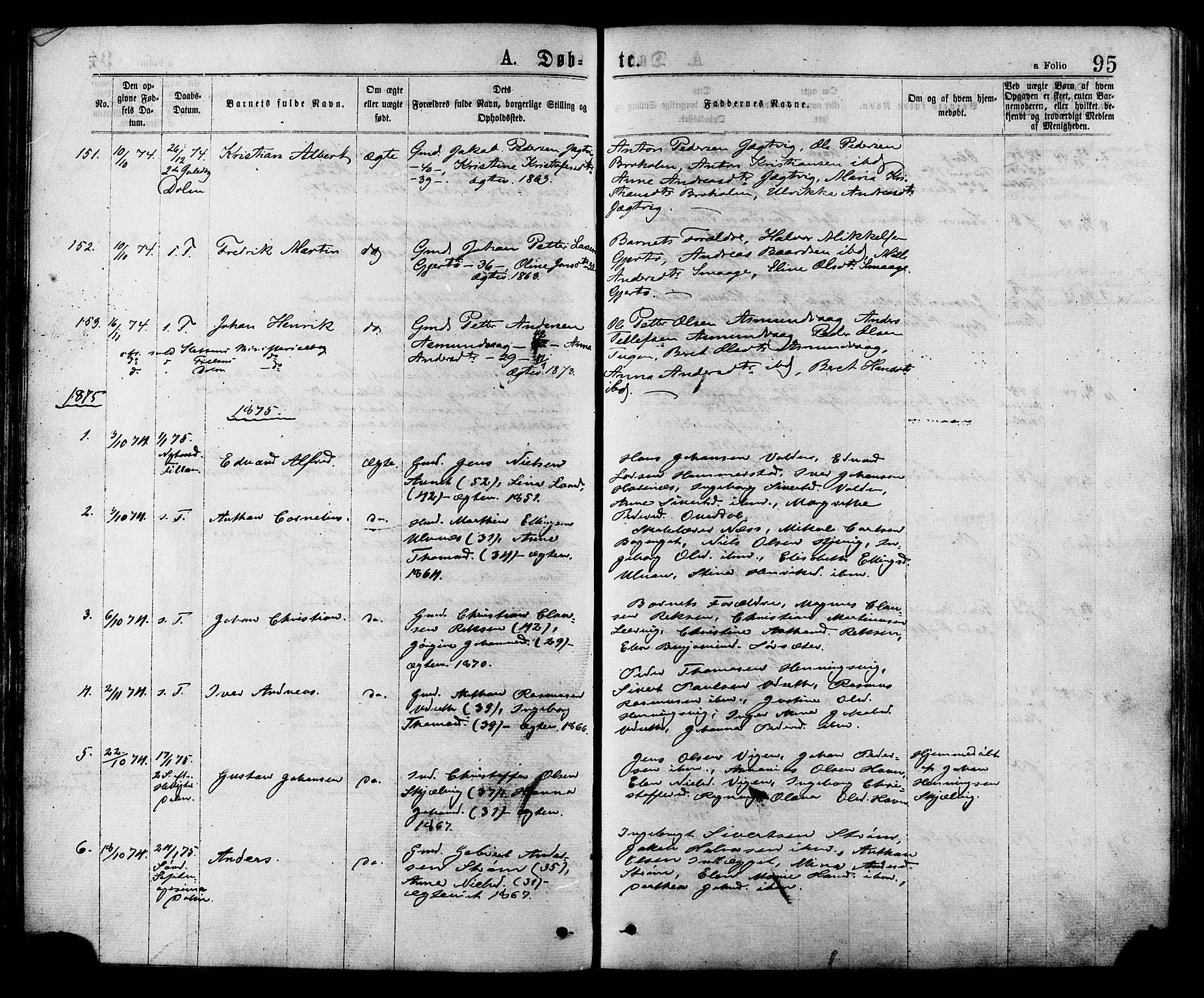 SAT, Ministerialprotokoller, klokkerbøker og fødselsregistre - Sør-Trøndelag, 634/L0532: Ministerialbok nr. 634A08, 1871-1881, s. 95