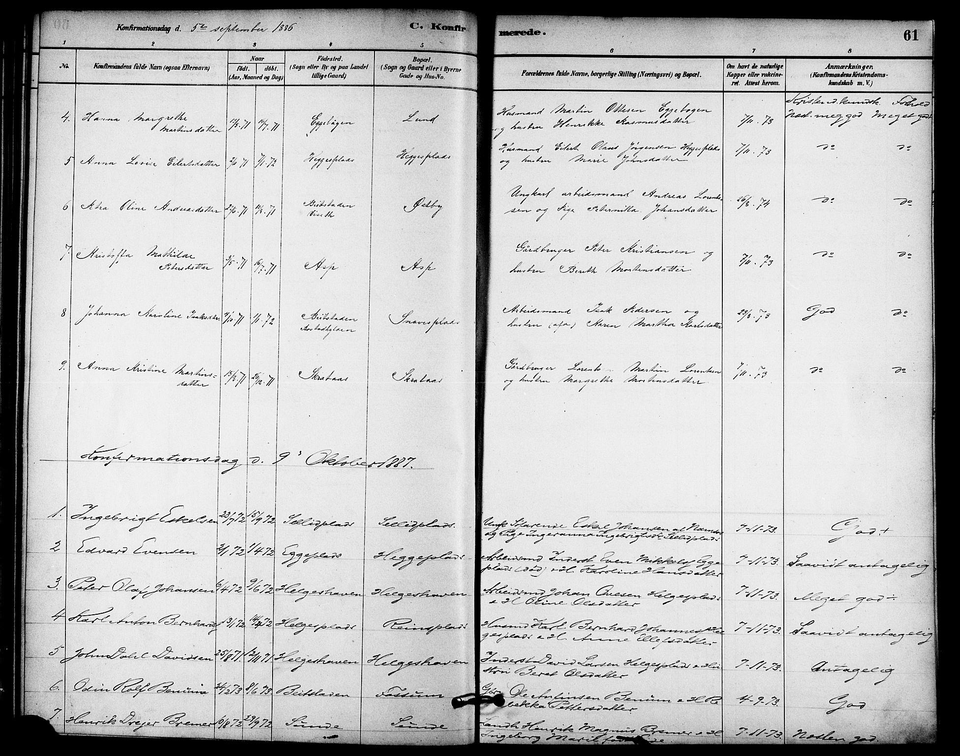 SAT, Ministerialprotokoller, klokkerbøker og fødselsregistre - Nord-Trøndelag, 740/L0378: Ministerialbok nr. 740A01, 1881-1895, s. 61