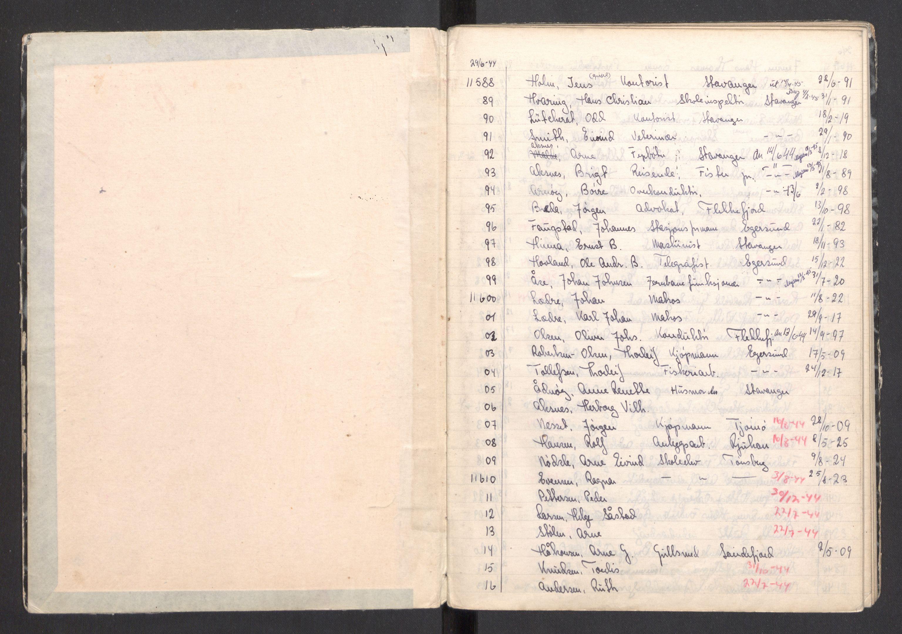 RA, Befehlshaber der Sicherheitspolizei und des SD, F/Fa/Faa/L0014: Fangefortegnelser. Fangenr. 11588-15047, 1945