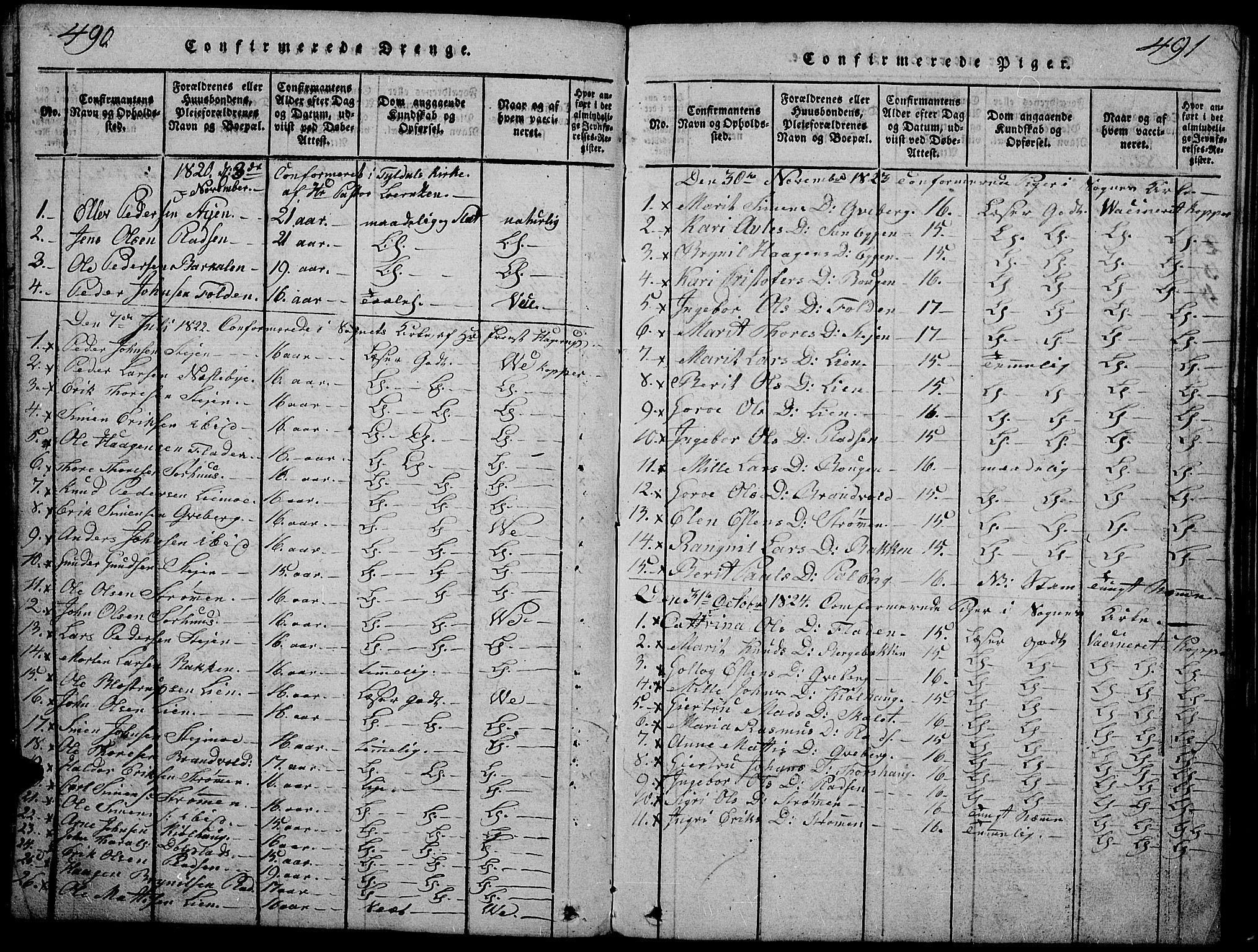 SAH, Tynset prestekontor, Klokkerbok nr. 2, 1814-1862, s. 490-491