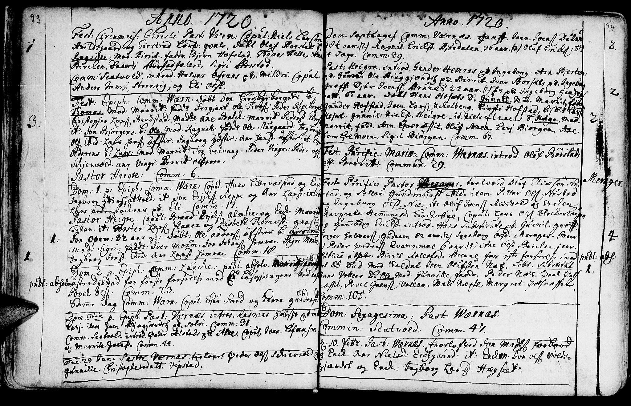 SAT, Ministerialprotokoller, klokkerbøker og fødselsregistre - Nord-Trøndelag, 709/L0054: Ministerialbok nr. 709A02, 1714-1738, s. 93-94