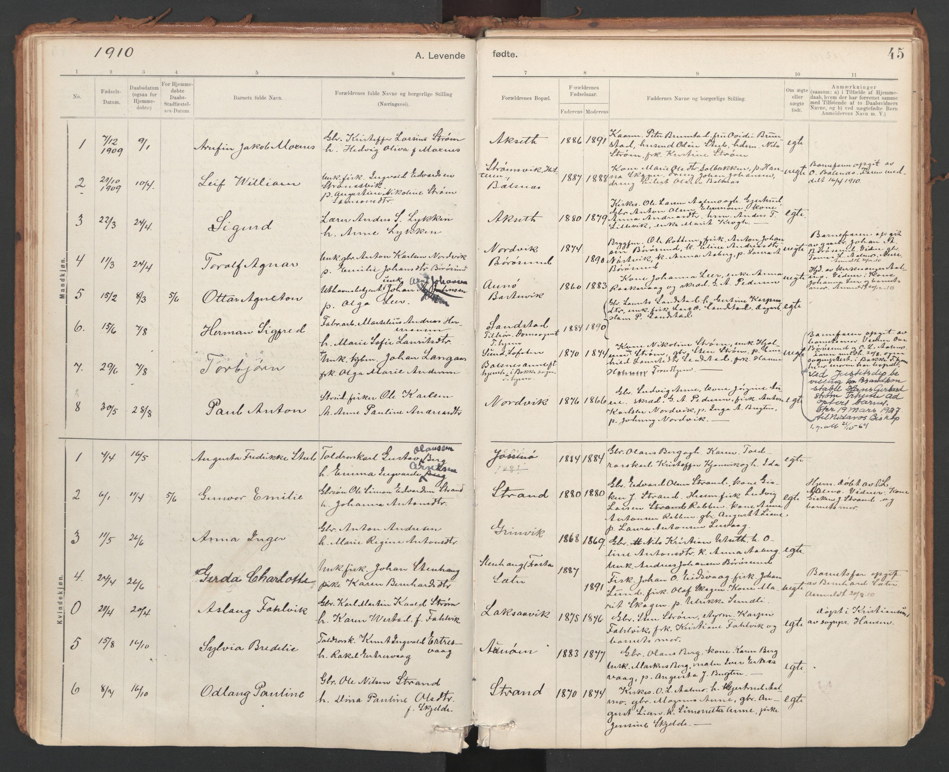 SAT, Ministerialprotokoller, klokkerbøker og fødselsregistre - Sør-Trøndelag, 639/L0572: Ministerialbok nr. 639A01, 1890-1920, s. 45