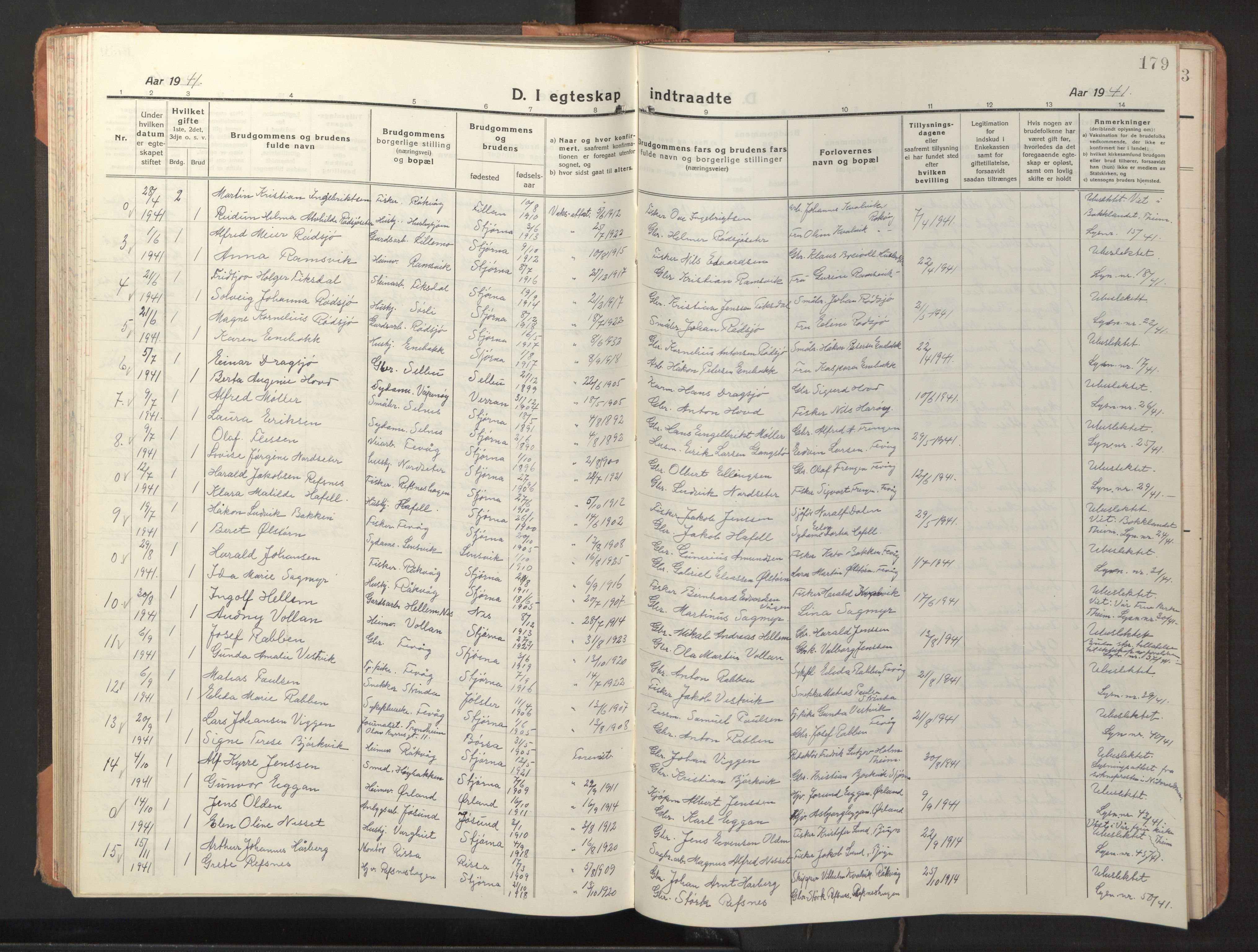 SAT, Ministerialprotokoller, klokkerbøker og fødselsregistre - Sør-Trøndelag, 653/L0658: Klokkerbok nr. 653C02, 1919-1947, s. 179