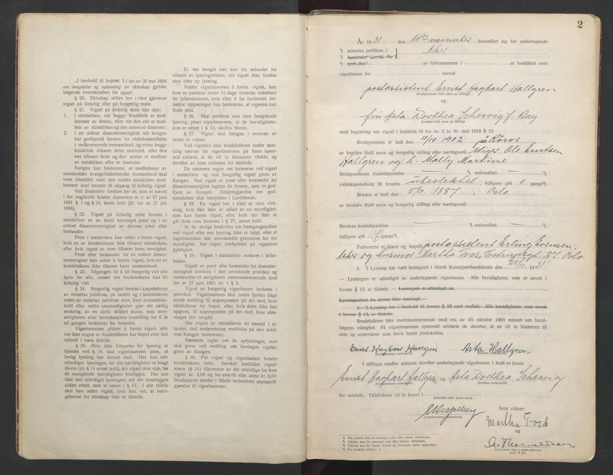 SAO, Aker sorenskriveri, L/Lc/Lcb/L0006: Vigselprotokoll, 1931-1933, s. 2