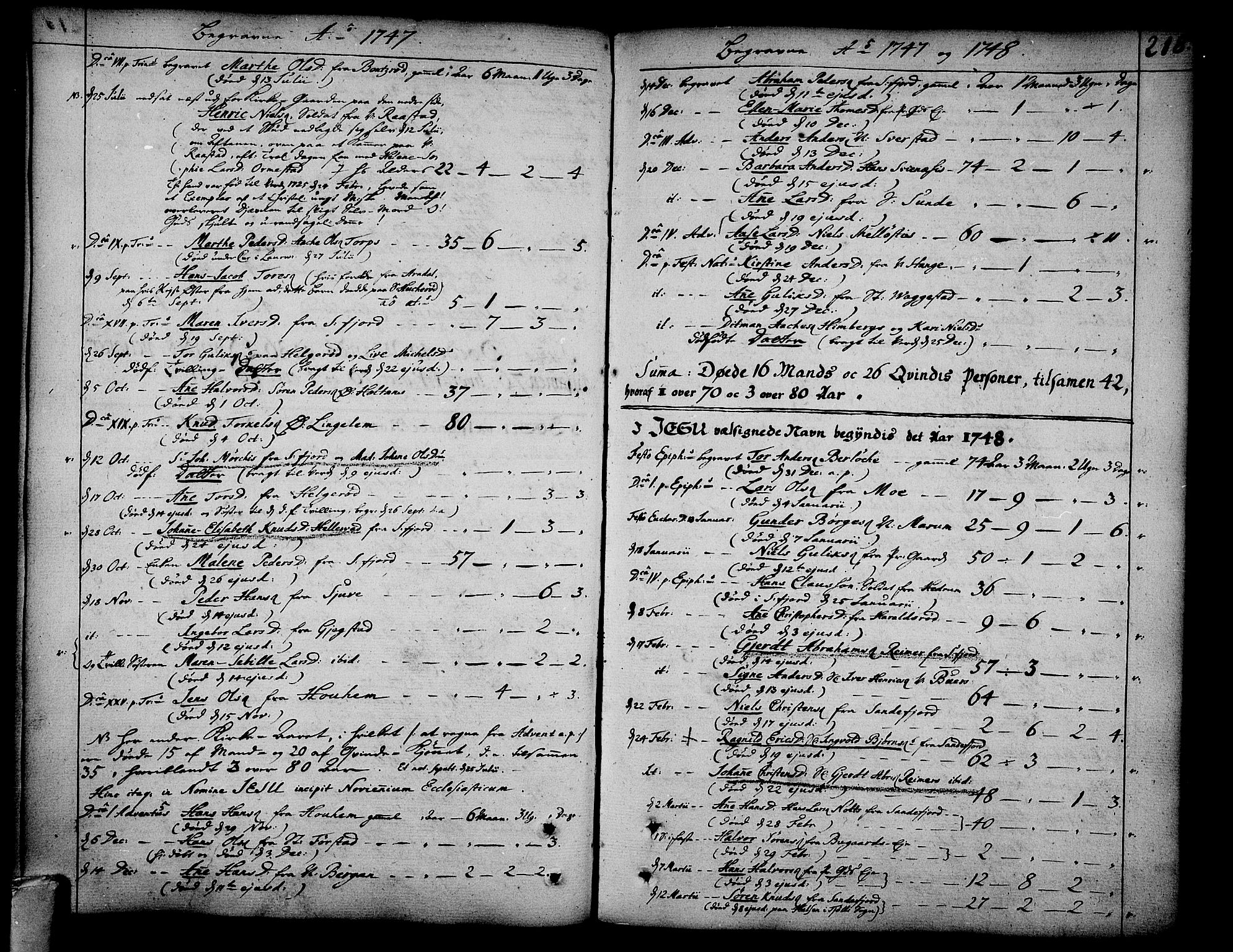 SAKO, Sandar kirkebøker, F/Fa/L0002: Ministerialbok nr. 2, 1733-1788, s. 218