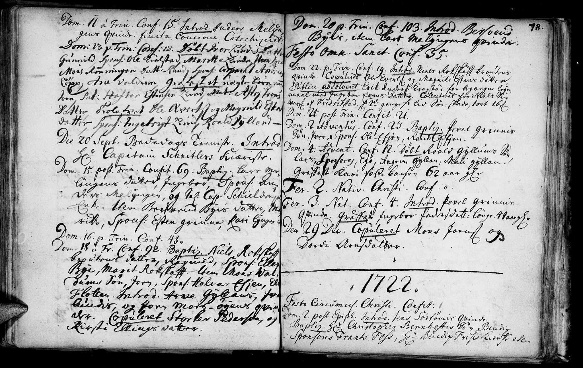 SAT, Ministerialprotokoller, klokkerbøker og fødselsregistre - Sør-Trøndelag, 692/L1101: Ministerialbok nr. 692A01, 1690-1746, s. 78