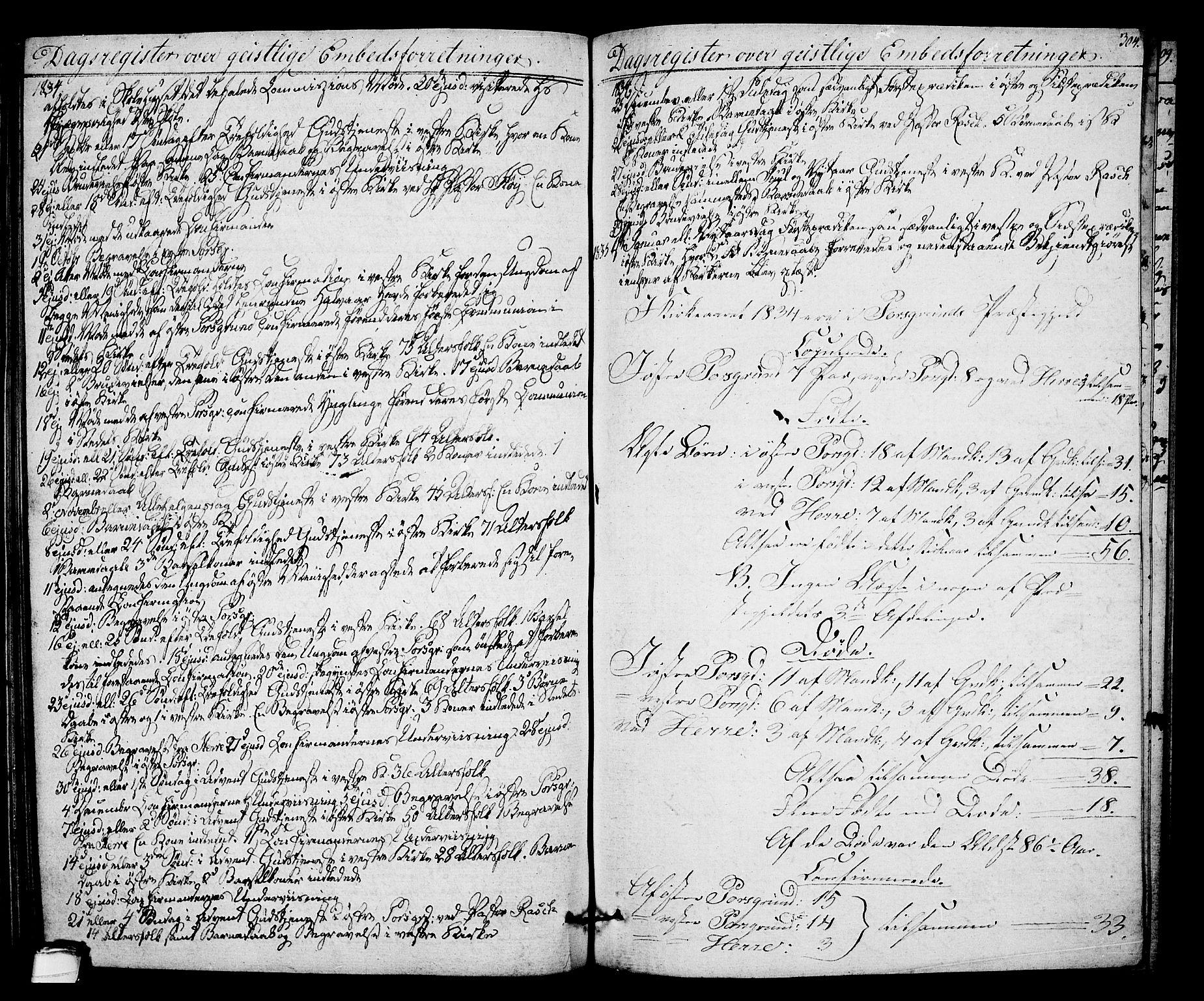 SAKO, Porsgrunn kirkebøker , F/Fa/L0005: Ministerialbok nr. 5, 1828-1840, s. 304
