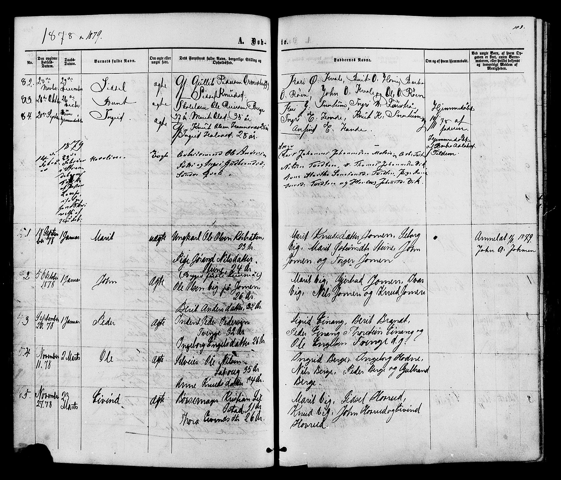 SAH, Vestre Slidre prestekontor, Ministerialbok nr. 3, 1865-1880, s. 103