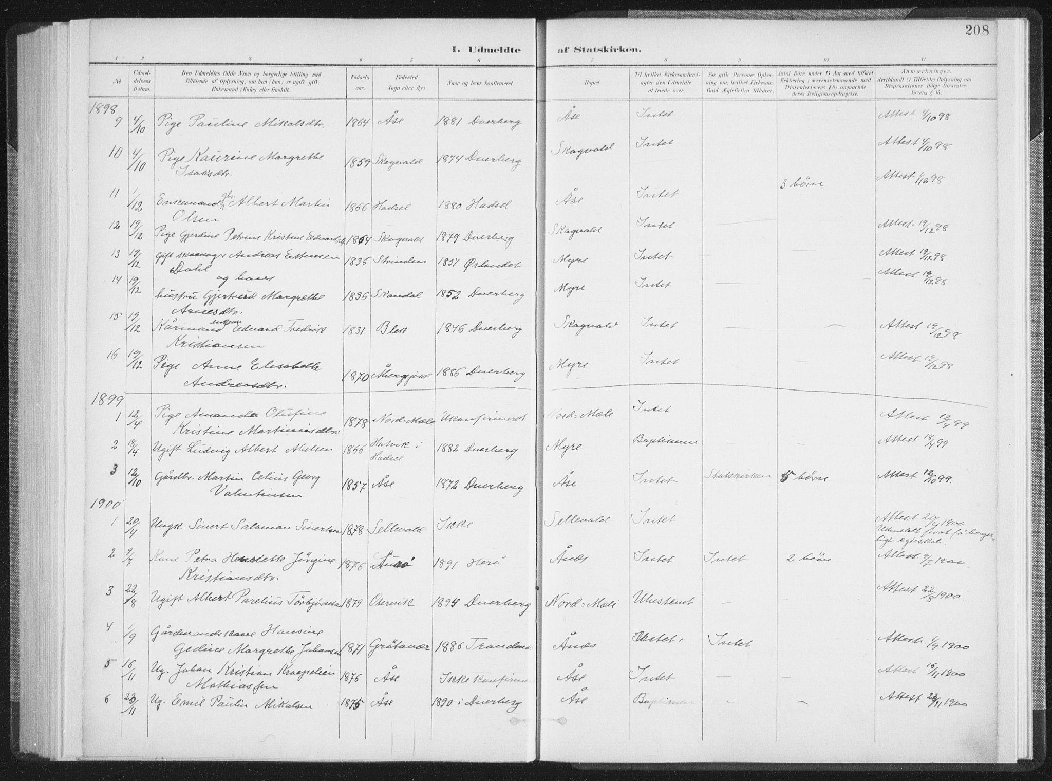 SAT, Ministerialprotokoller, klokkerbøker og fødselsregistre - Nordland, 897/L1400: Ministerialbok nr. 897A07, 1897-1908, s. 208