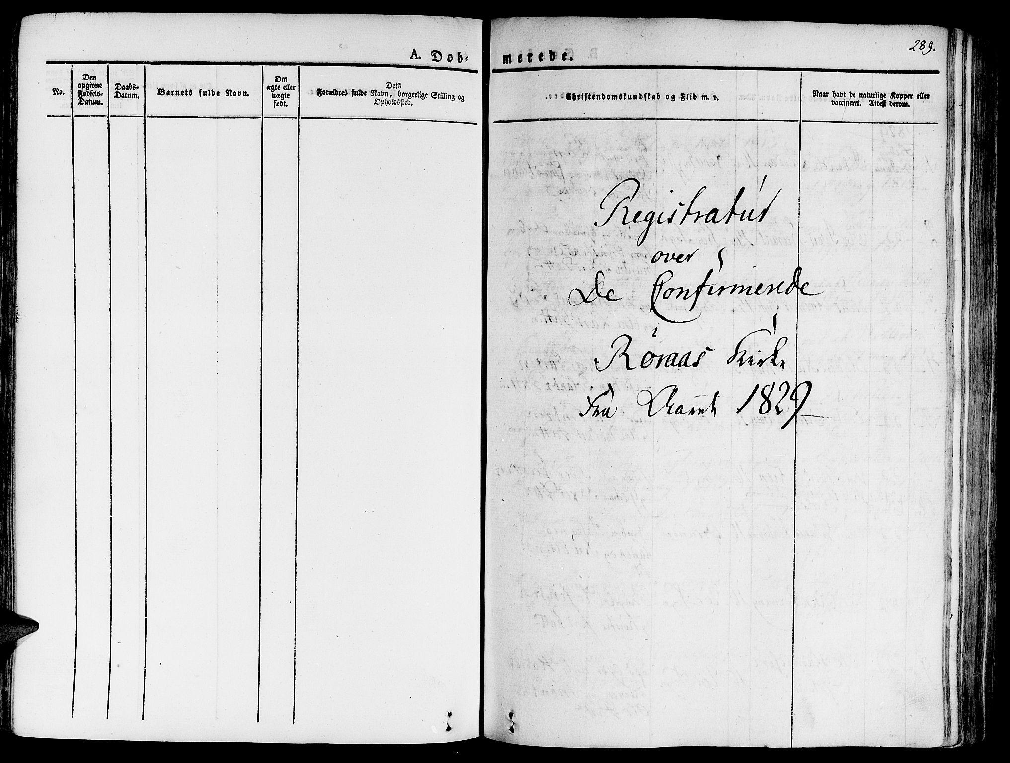 SAT, Ministerialprotokoller, klokkerbøker og fødselsregistre - Sør-Trøndelag, 681/L0930: Ministerialbok nr. 681A08, 1829-1844, s. 289