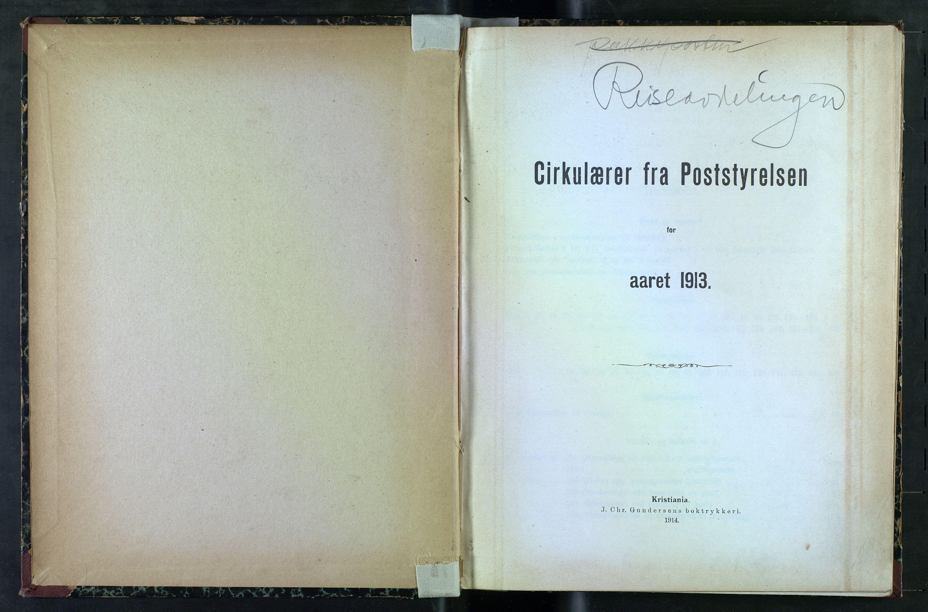 NOPO, Norges Postmuseums bibliotek, -/-: Sirkulærer fra Poststyrelsen, 1913