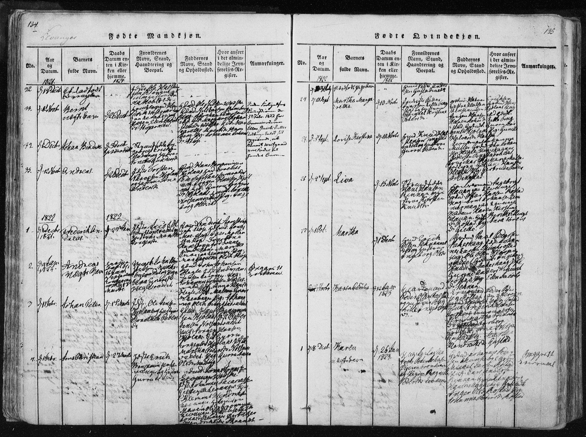 SAT, Ministerialprotokoller, klokkerbøker og fødselsregistre - Nord-Trøndelag, 717/L0148: Ministerialbok nr. 717A04 /2, 1816-1825, s. 134-135