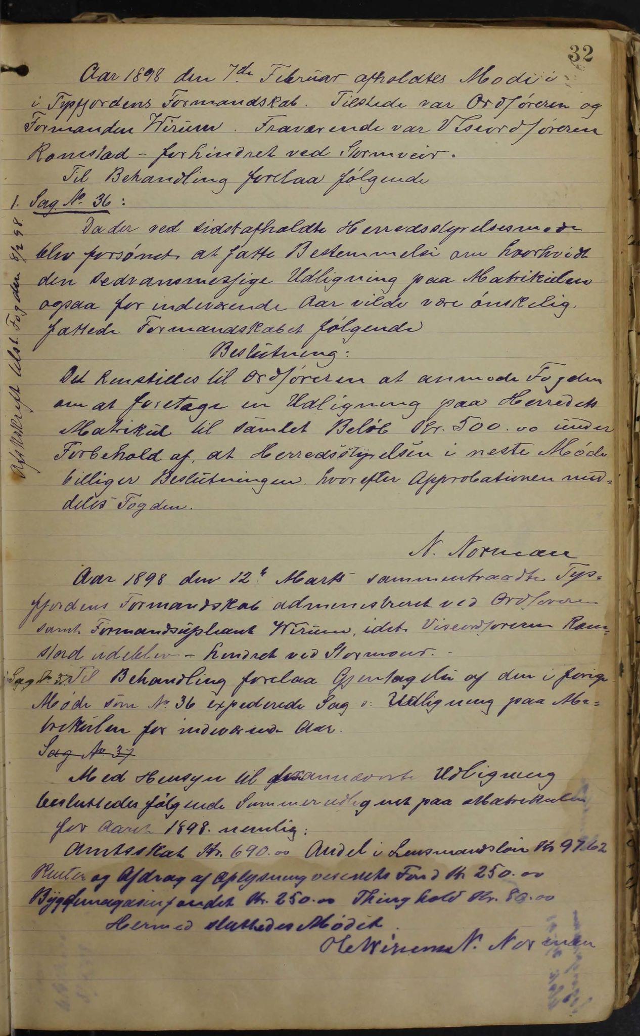 AIN, Tysfjord kommune. Formannskapet, 100/L0002: Forhandlingsprotokoll for Tysfjordens formandskap, 1895-1912, s. 32