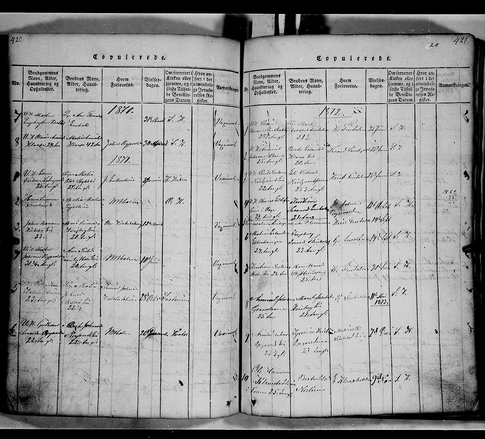 SAH, Gausdal prestekontor, Klokkerbok nr. 2, 1818-1874, s. 420-421