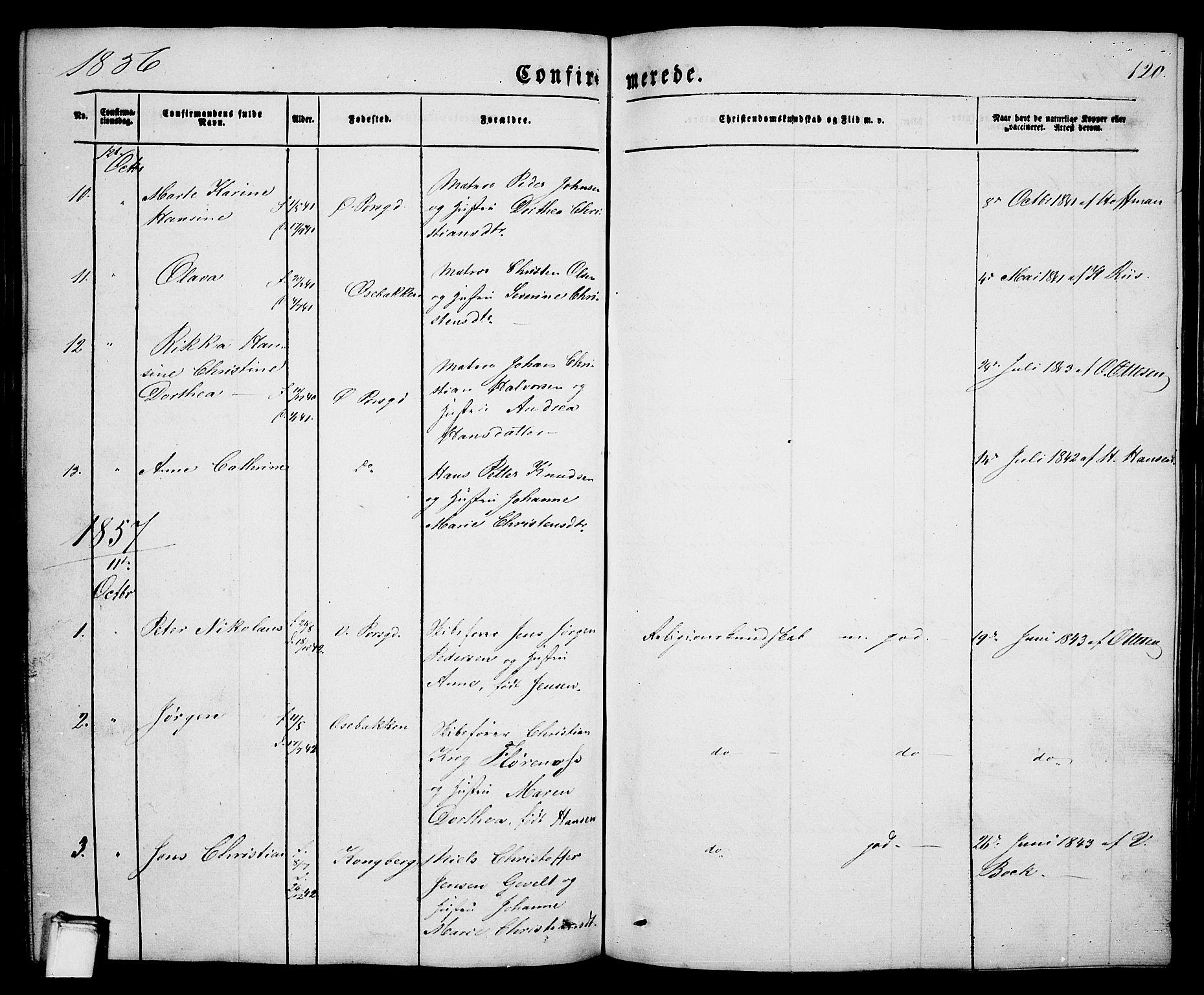 SAKO, Porsgrunn kirkebøker , G/Ga/L0002: Klokkerbok nr. I 2, 1847-1877, s. 120