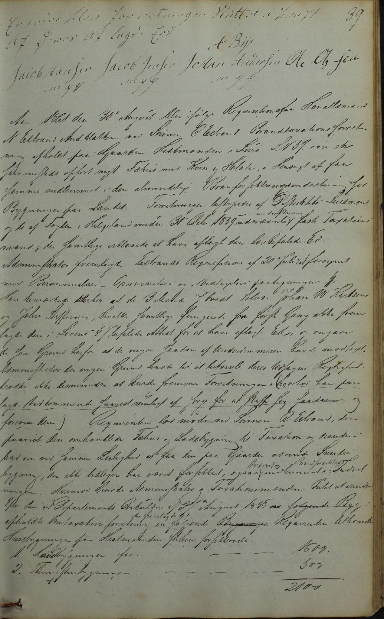 AIN, Lurøy kommune. Formannskapet, 100/L0001: Møtebok, 1836-1898, s. 39