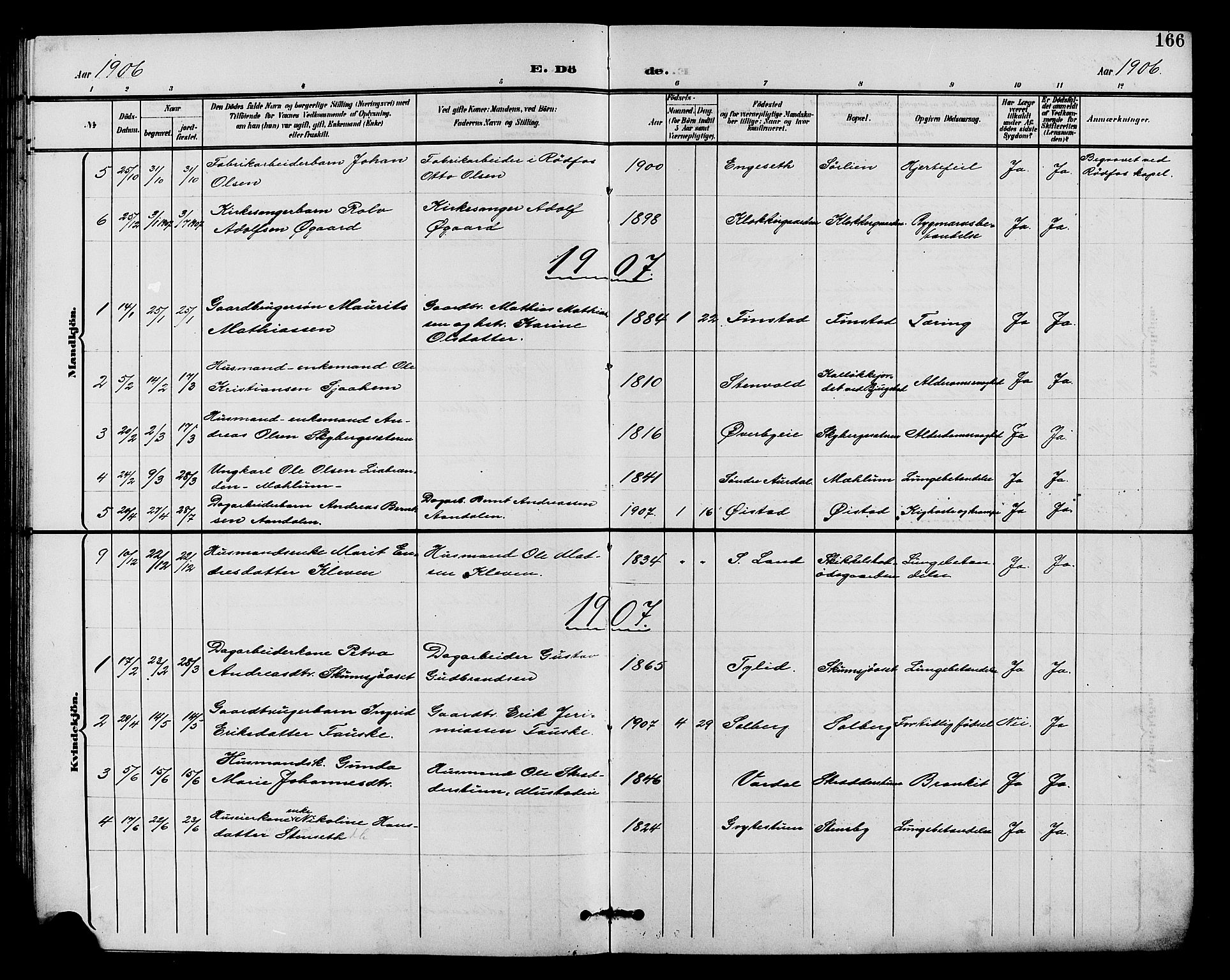 SAH, Vardal prestekontor, H/Ha/Hab/L0011: Klokkerbok nr. 11, 1899-1913, s. 166