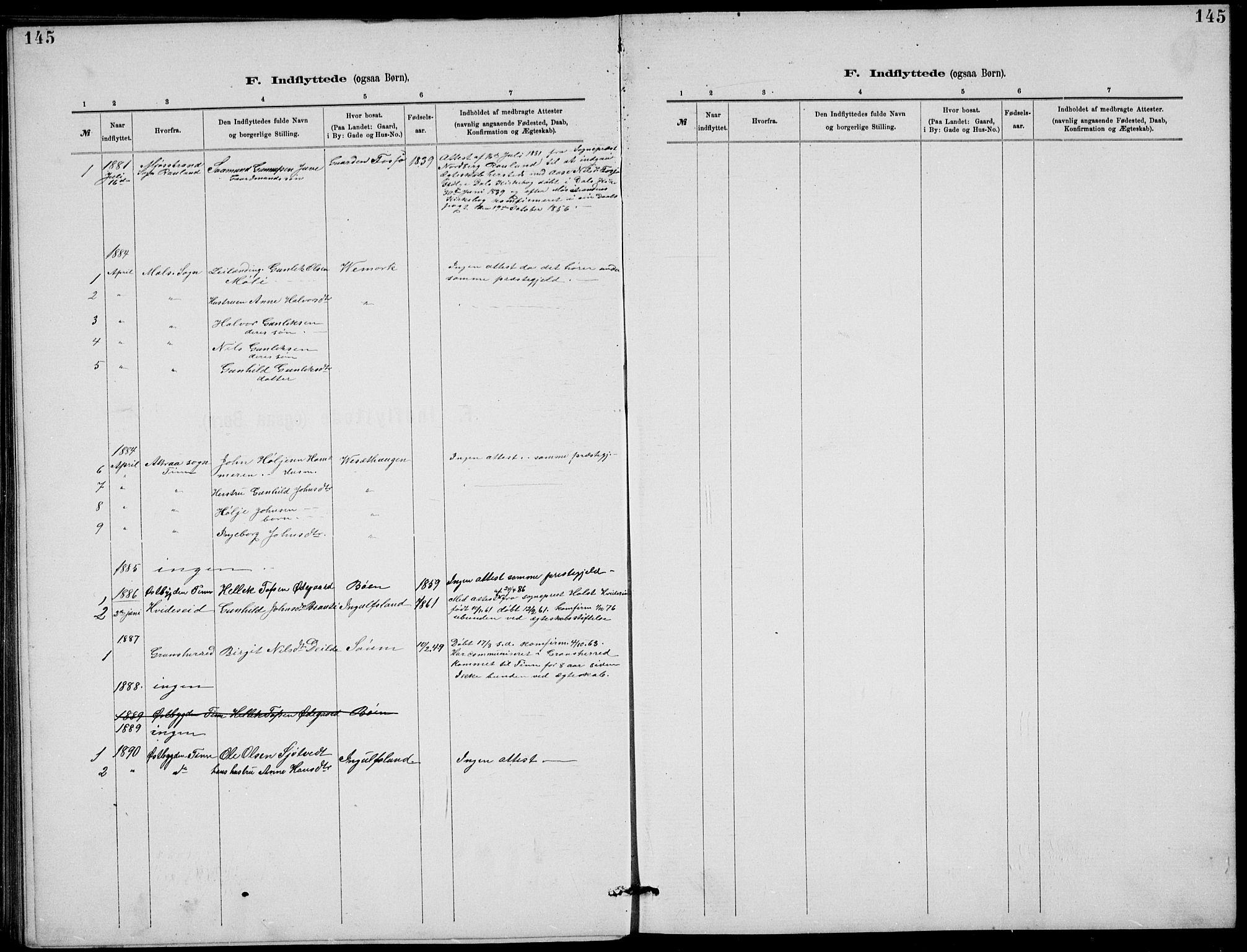 SAKO, Rjukan kirkebøker, G/Ga/L0001: Klokkerbok nr. 1, 1880-1914, s. 145