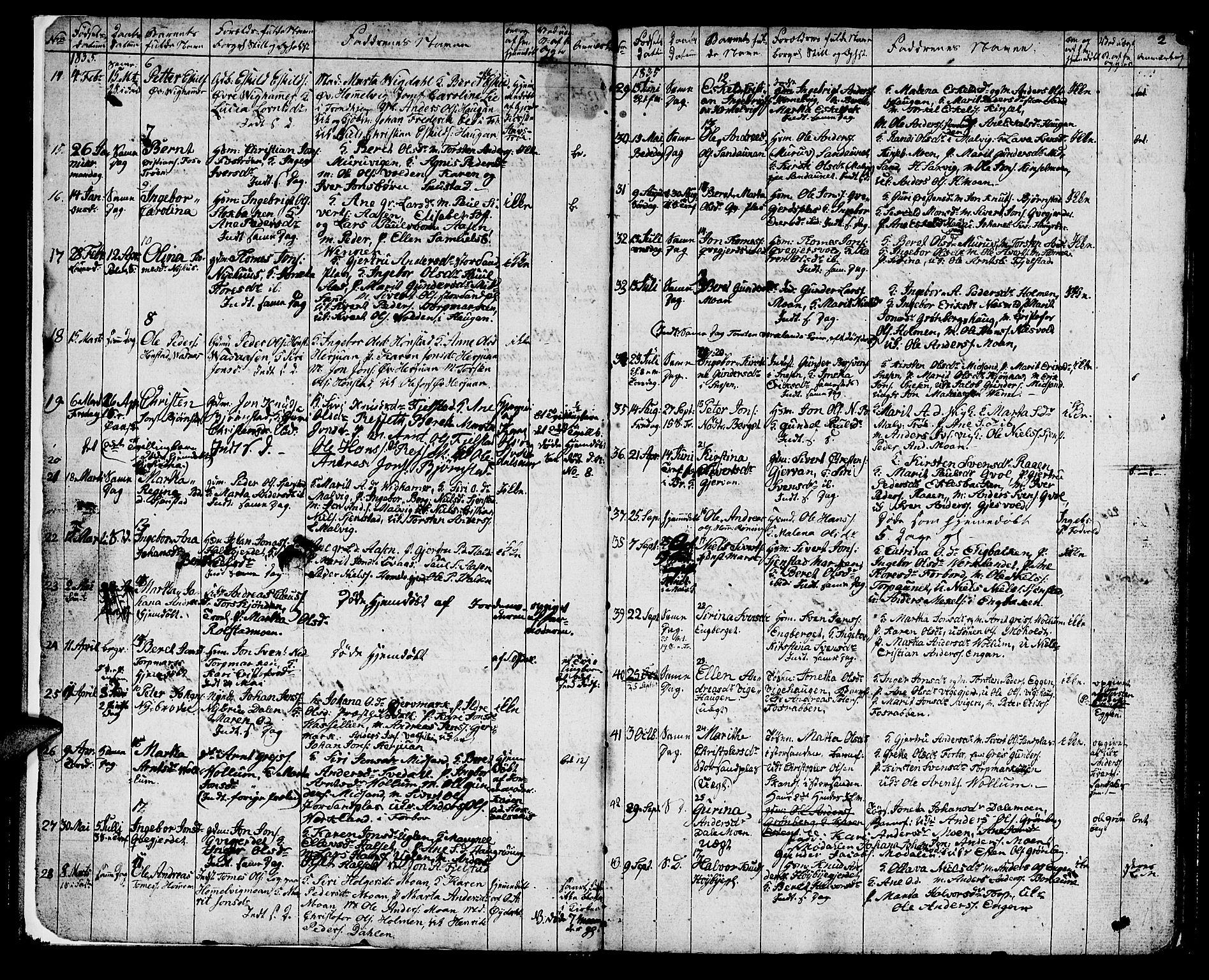 SAT, Ministerialprotokoller, klokkerbøker og fødselsregistre - Sør-Trøndelag, 616/L0421: Klokkerbok nr. 616C04, 1834-1850, s. 2
