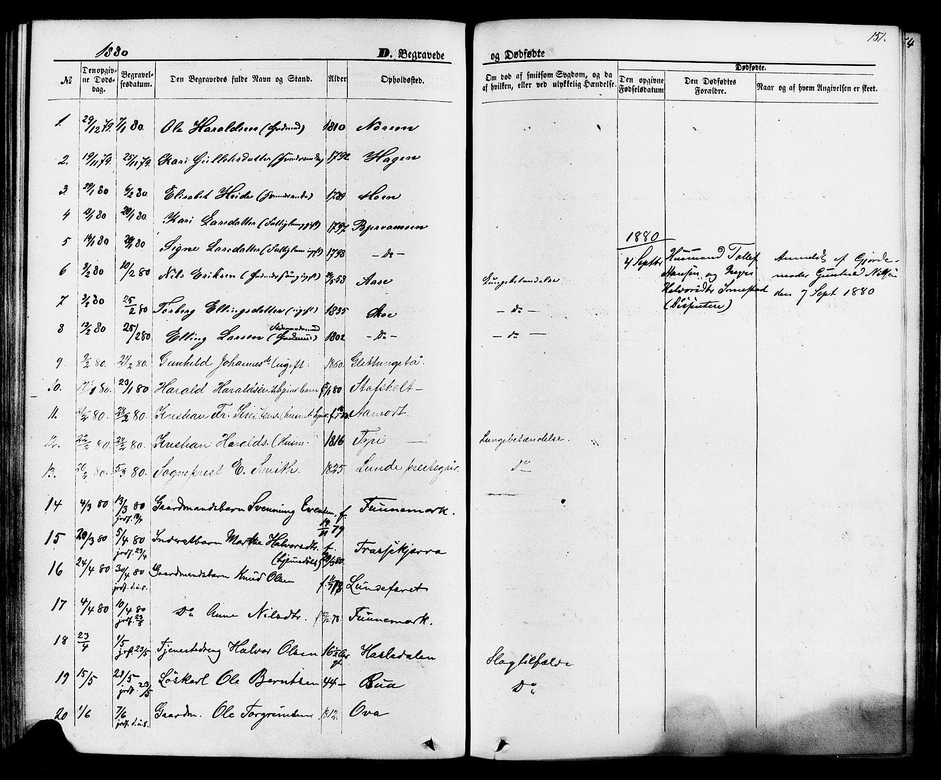 SAKO, Lunde kirkebøker, F/Fa/L0001: Ministerialbok nr. I 1, 1866-1883, s. 151
