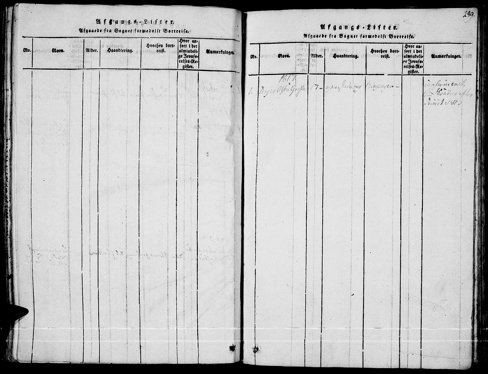 SAH, Fron prestekontor, H/Ha/Haa/L0002: Ministerialbok nr. 2, 1816-1827, s. 289