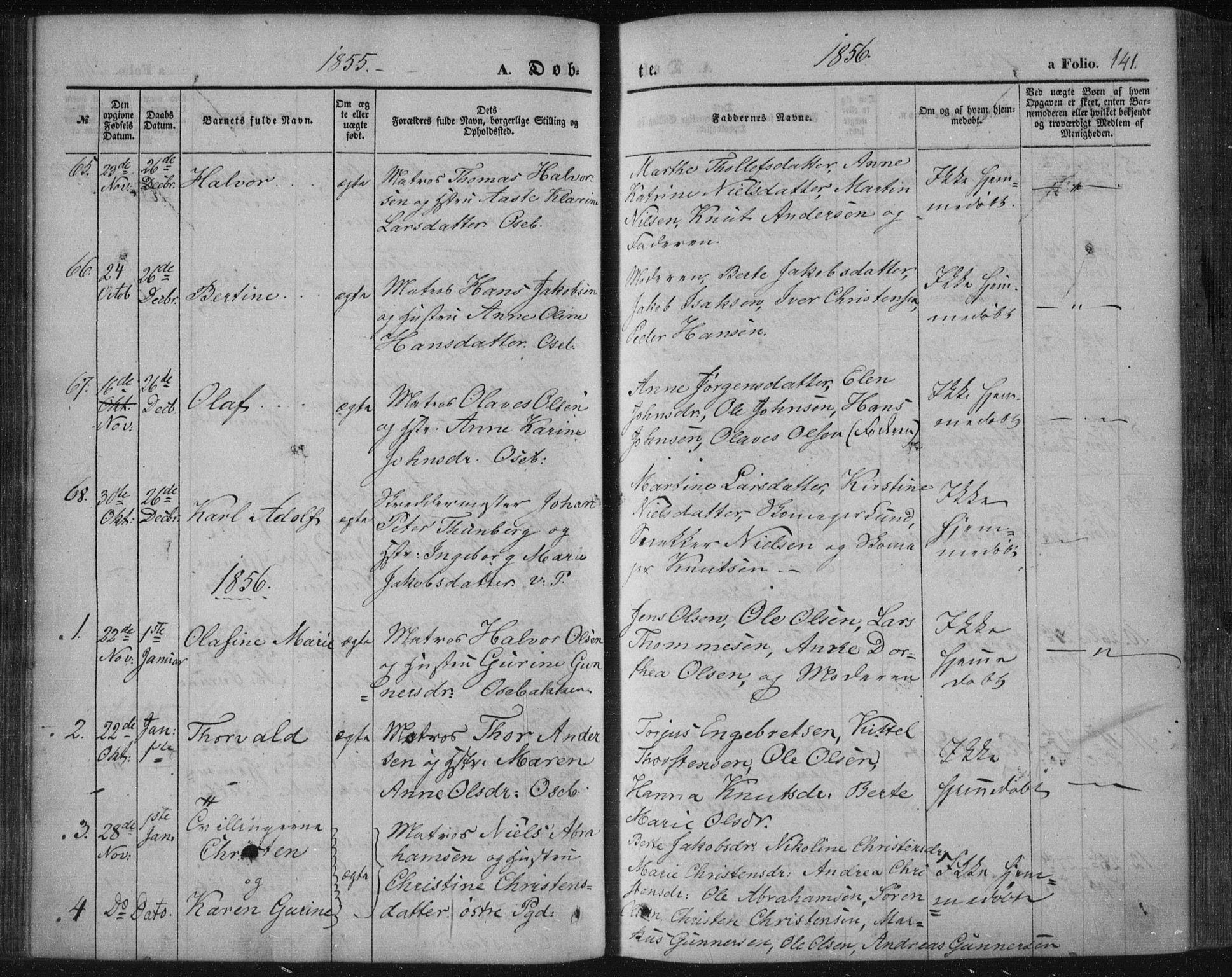 SAKO, Porsgrunn kirkebøker , F/Fa/L0006: Ministerialbok nr. 6, 1841-1857, s. 141